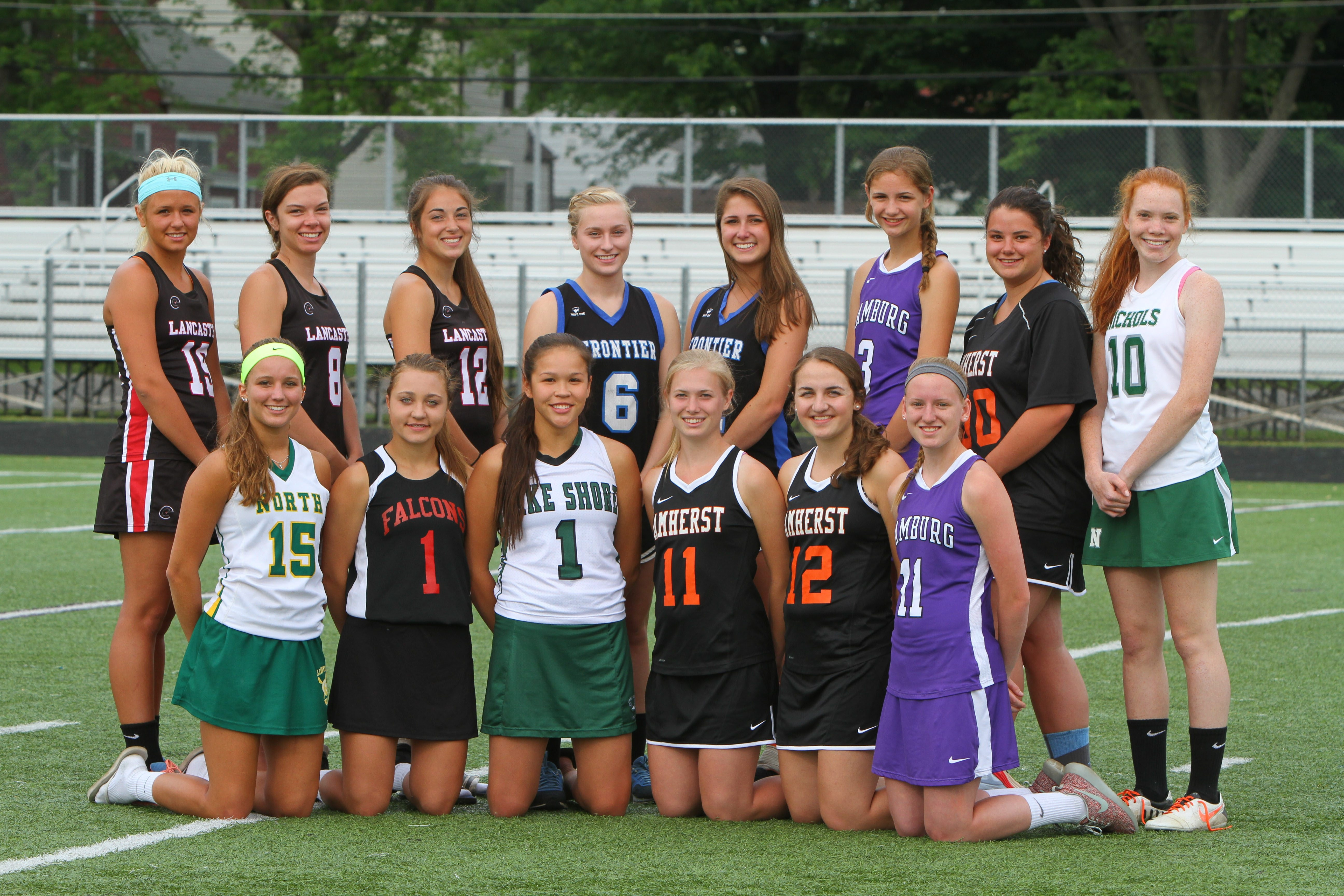 All-WNY girls lacrosse: Back row, left to right – Allie Stewart (Lancaster), Grace Gabriel (Lancaster), MacKenzie Neary (Lancaster), Hannah Lease (Frontier), Taylor Izzo (Frontier), Claire Herrmann (Hamburg), Emily Bitka (Amherst) and Jenny Roach (Nichols). Front row, left to right – Katie Wolfe (Williamsville North), Emma Falter (Niagara-Wheatfield), Alie Jimerson (Lake Shore), Kathryn Yoder (Amherst), Grace Lawson (Amherst), Jill Ford (Hamburg).