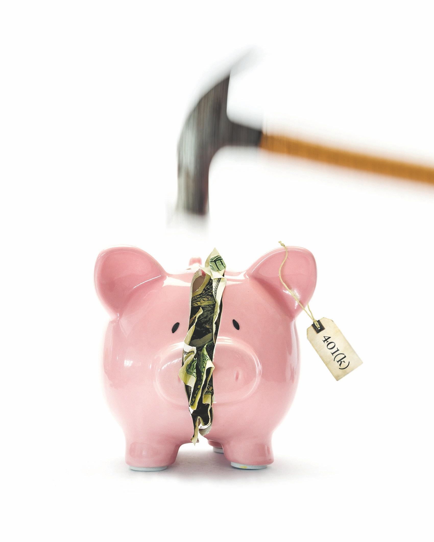 Hammer breaking piggy bank with money inside on white background
