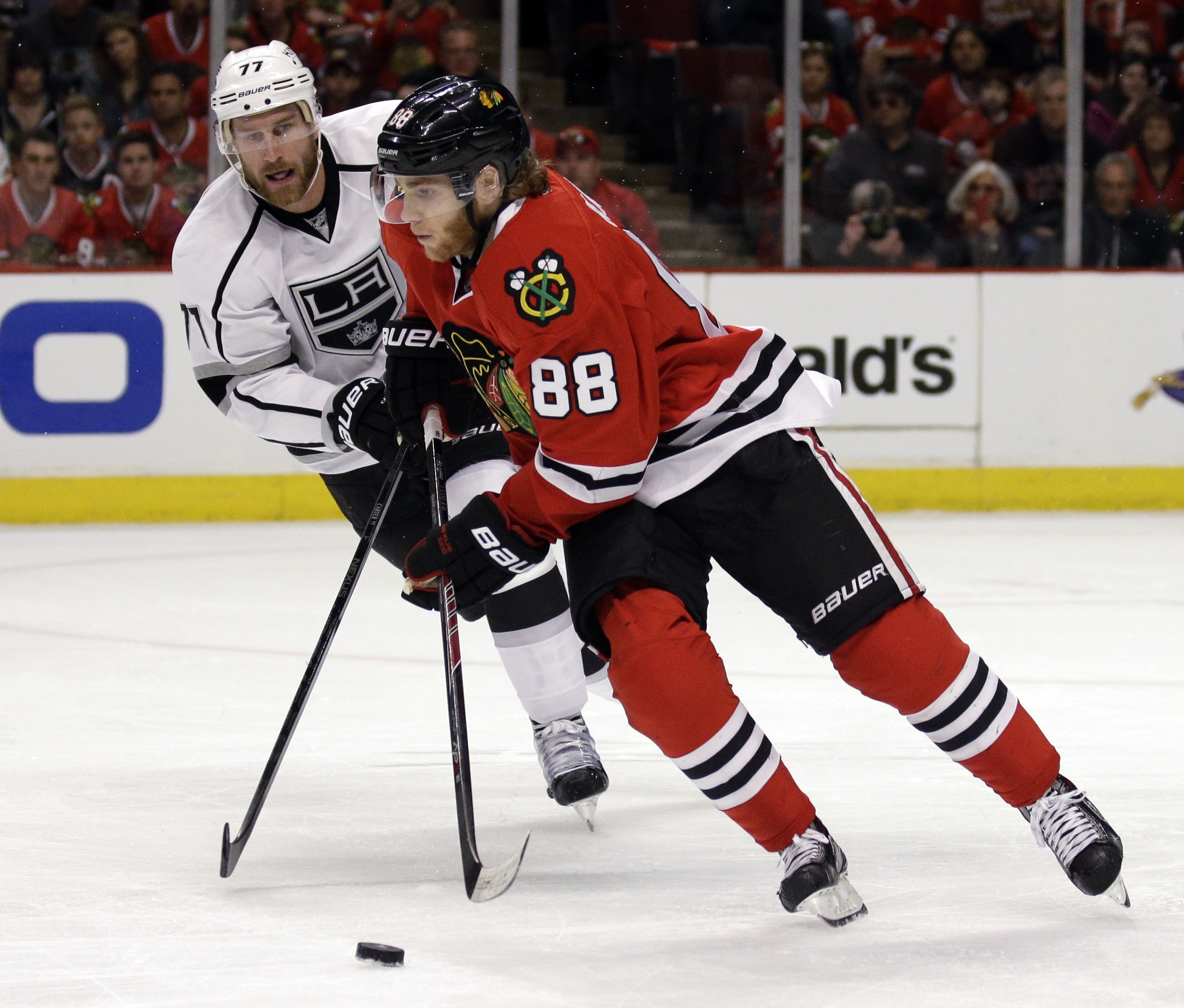 The Sabres serve as the home-opening foe for Patrick Kane and the Chicago Blackhawks. Kane, the South Buffalo native, gets to play before the hometown folks April 3. Jeff Carter, left, and the defending Stanley Cup champion L.A. Kings will visit Buffalo on Dec. 9. (AP Photo/Nam Y. Huh)