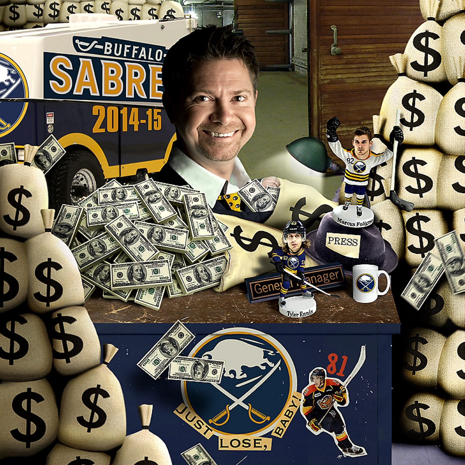 News Sports Reporter John Vogl plays Sabres GM for the Day, taking on the challenge of spending 'wildly to rebuild the worst team in the NHL.' (Illustration by Dan Zakroczemski / Buffalo News)