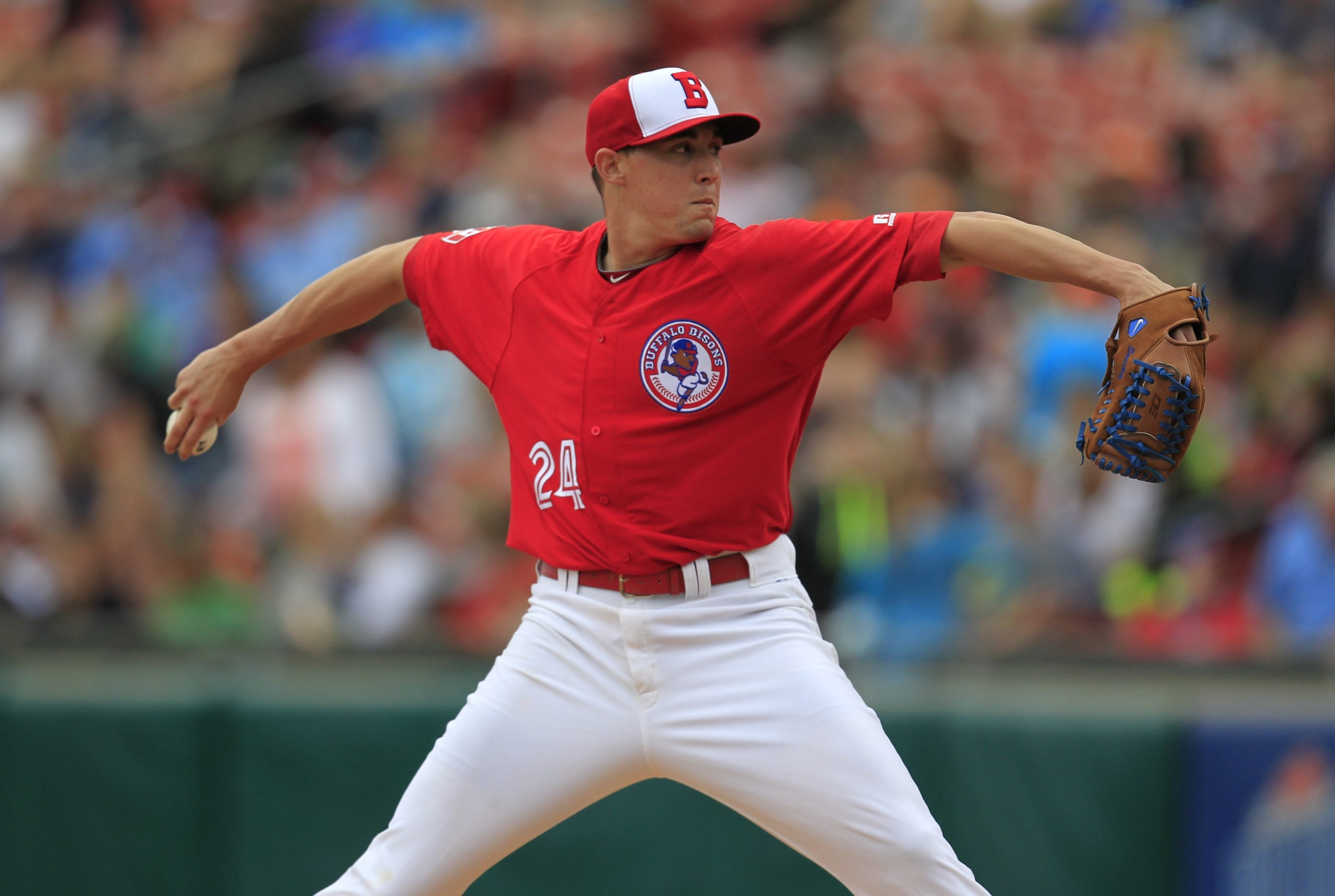 The Bisons' Aaron Sanchez, the top pitching prospect in the Blue Jays organization, got a no-decision on Friday night against Rochester.