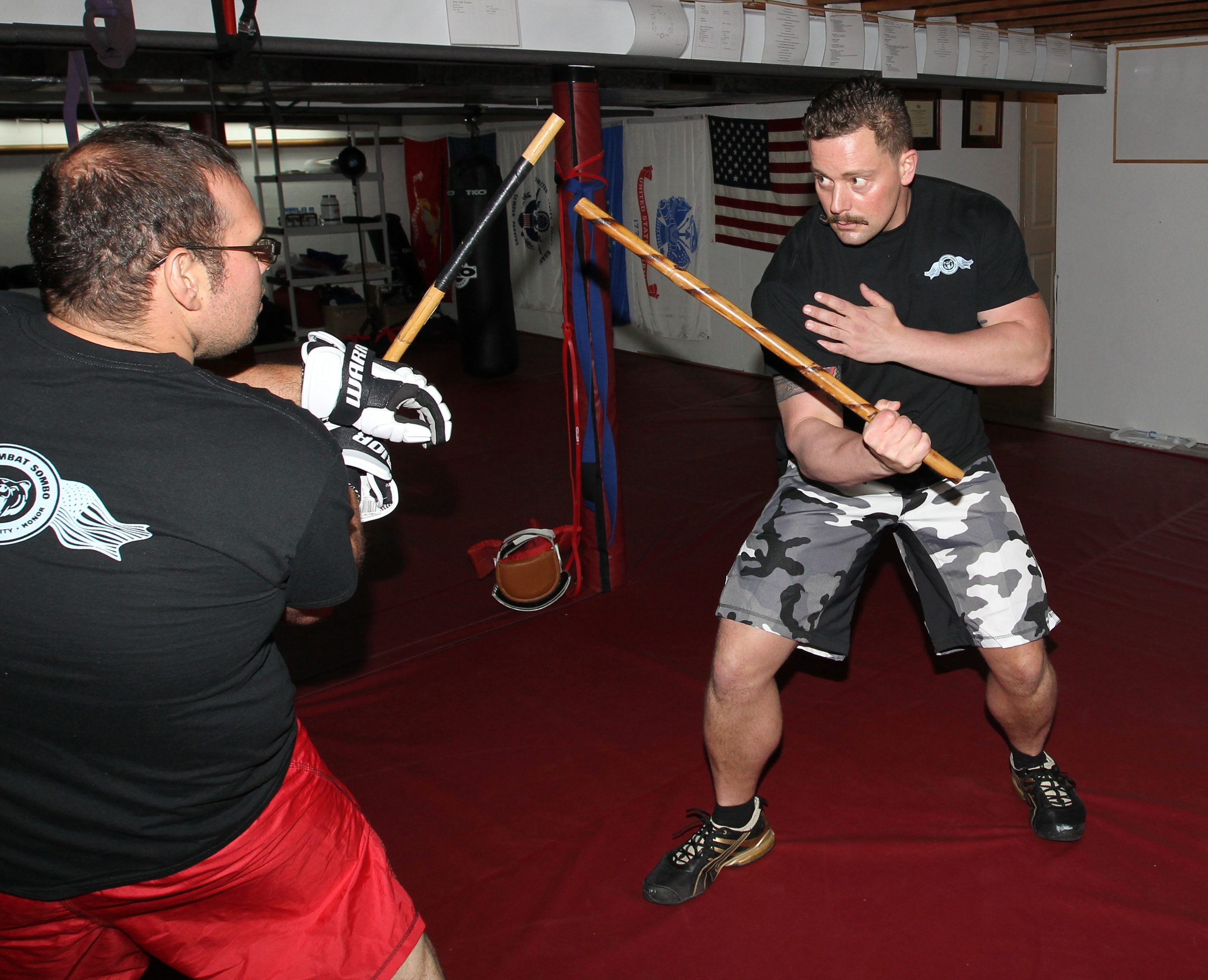 John Lehmann, right, practicing with Michael Wagner, headlines a Stickfighting World card tonight in Hamilton, Ont.
