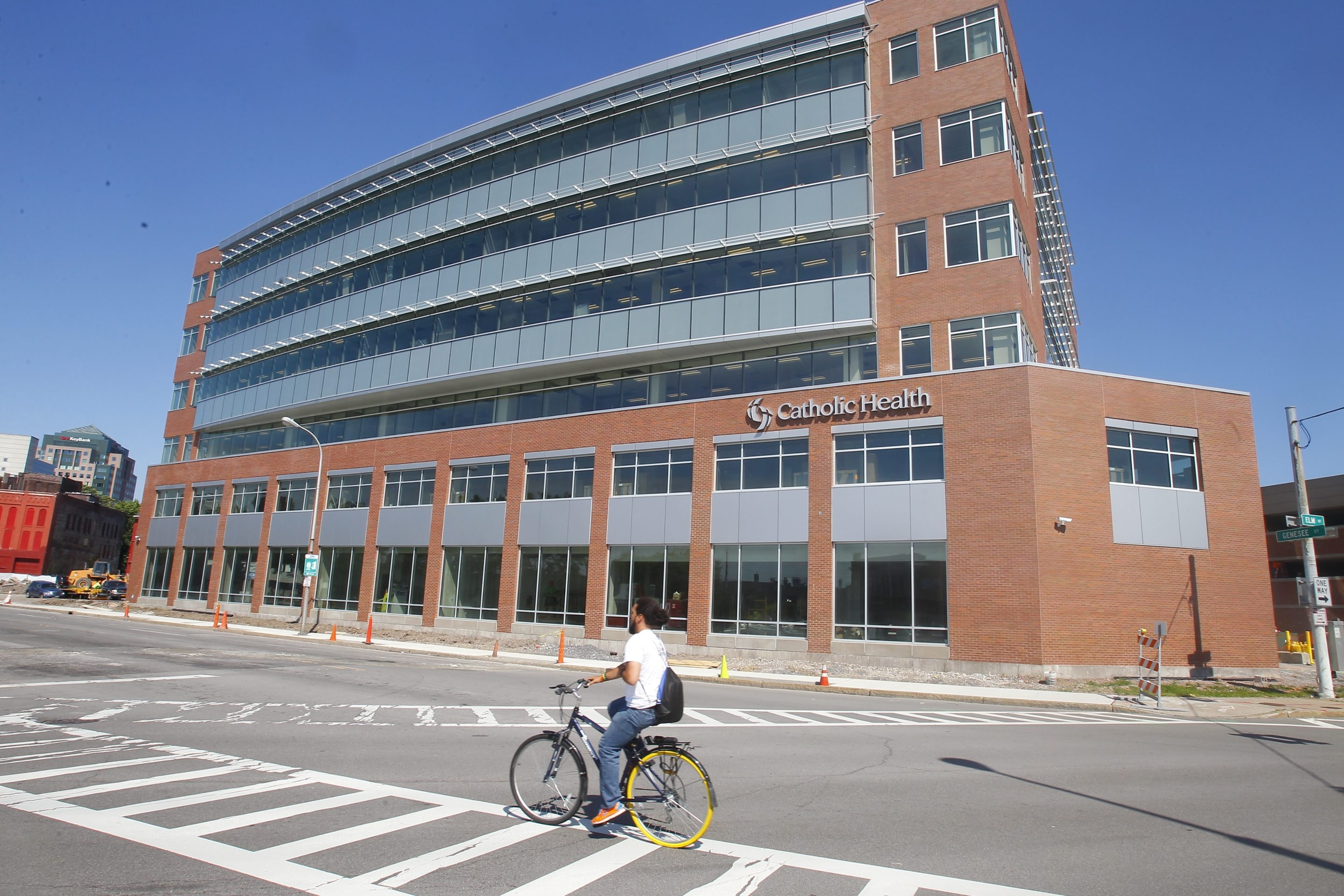 Catholic Health's new, 139,000-square-foot corporate headquarters downtown is nearing completion.
