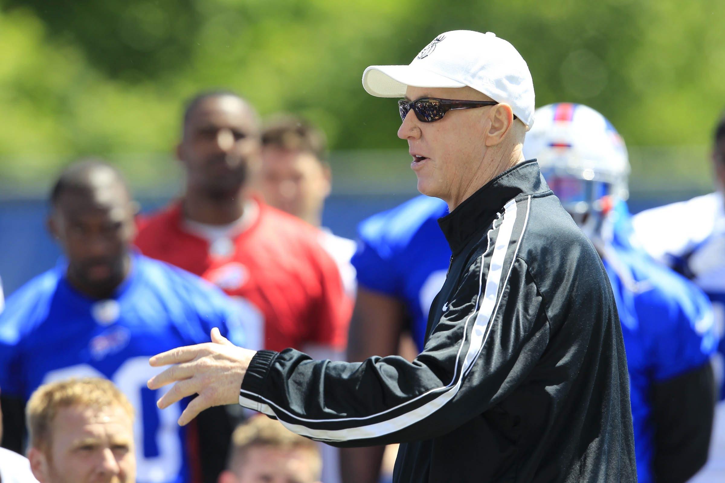 Bills Hall of Fame quarterback Jim Kelly addresses the current team during minicamp in Orchard Park on June 19.