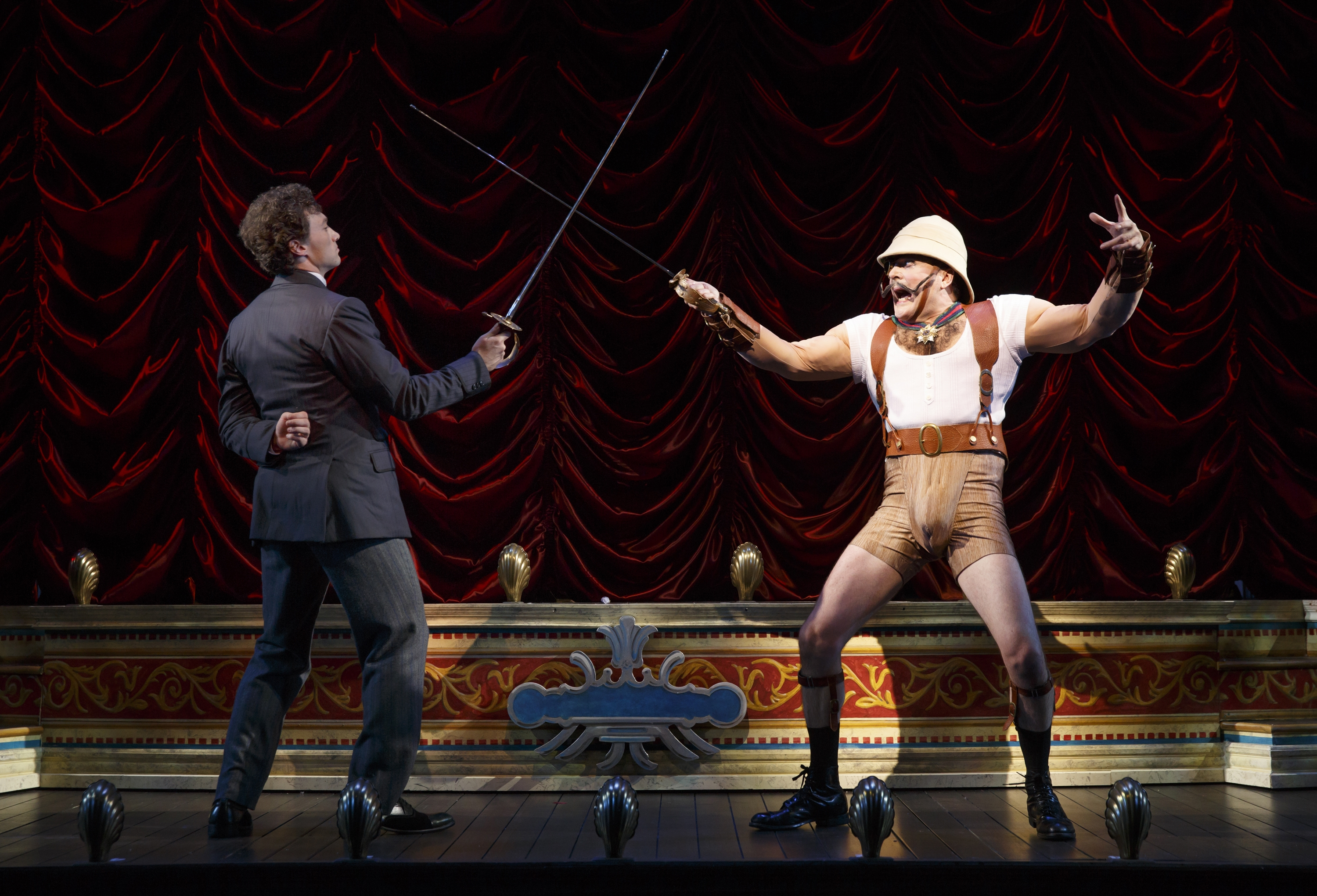 """Bryce Pinkham, left, and Jefferson Mayes star in the Tony Award-winning """"A Gentleman's Guide to Love and Murder,"""" which saw its best week ever at the box office."""