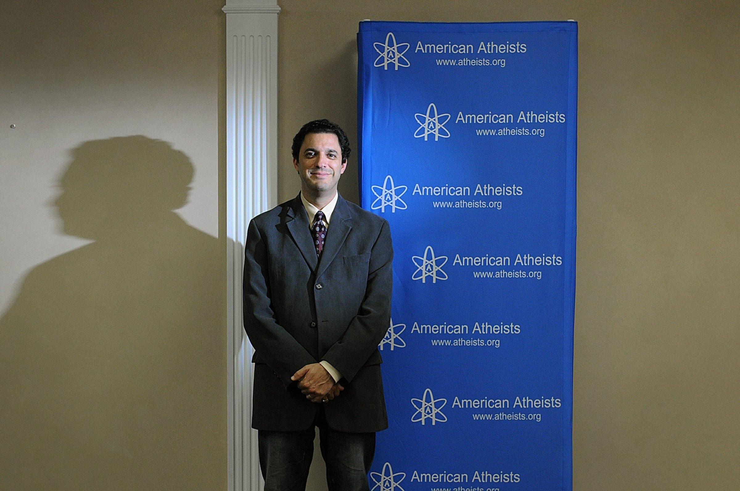 """David Silverman, the president of the American Atheists organization, is shown here before the taping of the group's weekly television show called """"Atheists Viewpoint."""""""