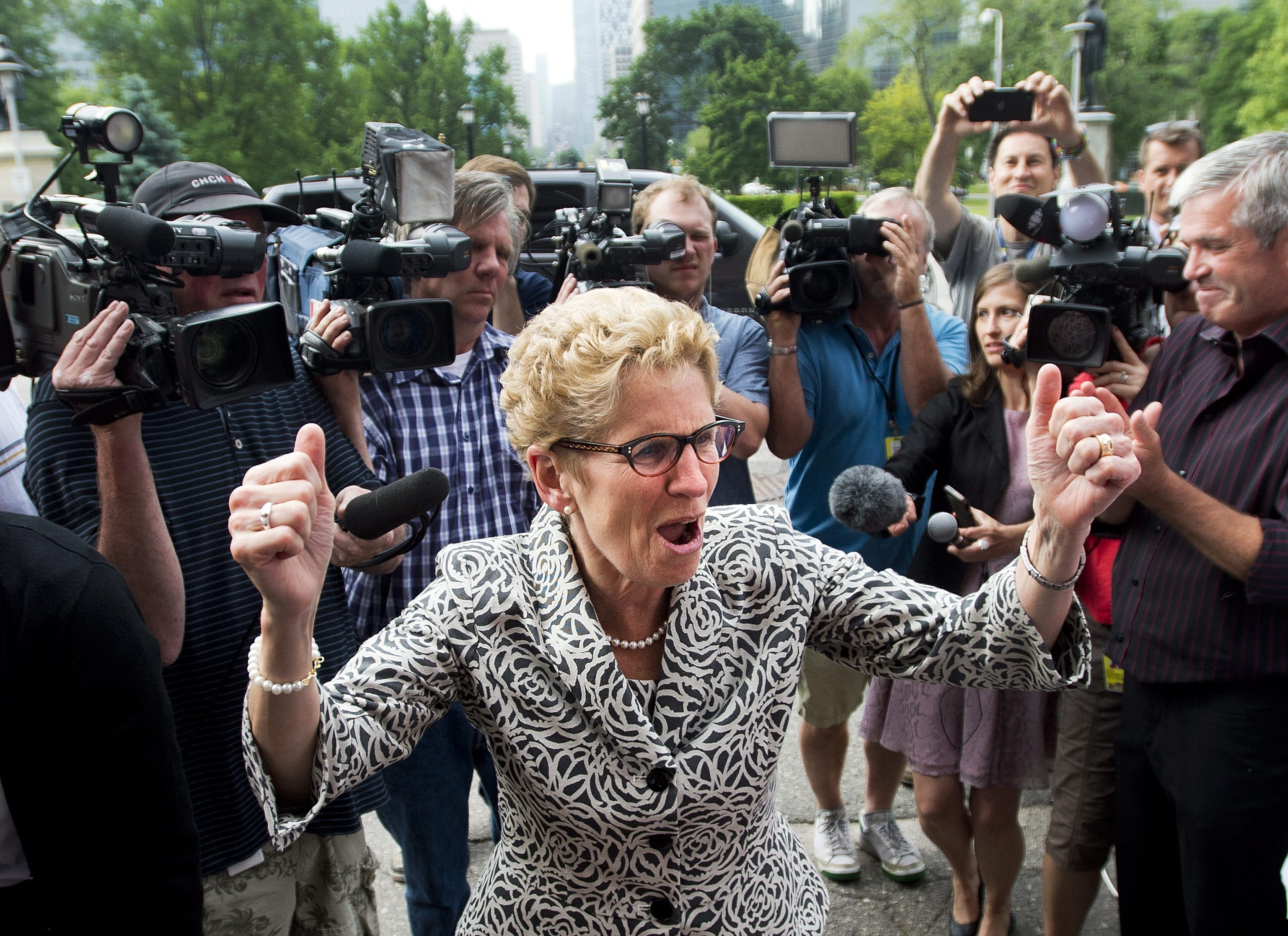 Ontario Premier Kathleen Wynne thanks supporters Friday after her Liberal Party breezed to victory, winning 59 of 107 districts.