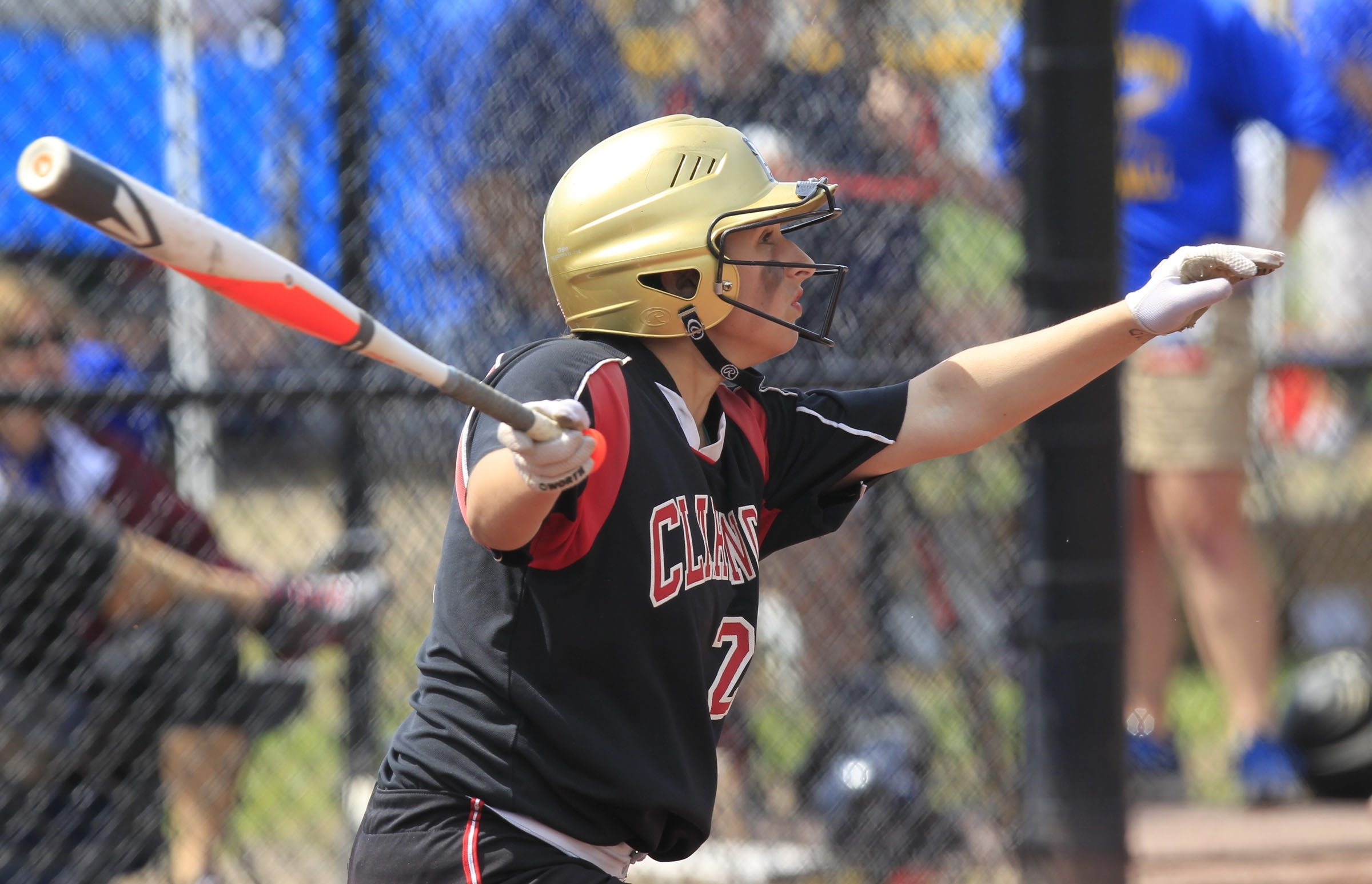Clarence Red Devils player Gabby Keller doubles against the East Meadow Jets during the Class AA New York State Public High School Athletic Association Semifinal at Moreau Recreational Park on Saturday.