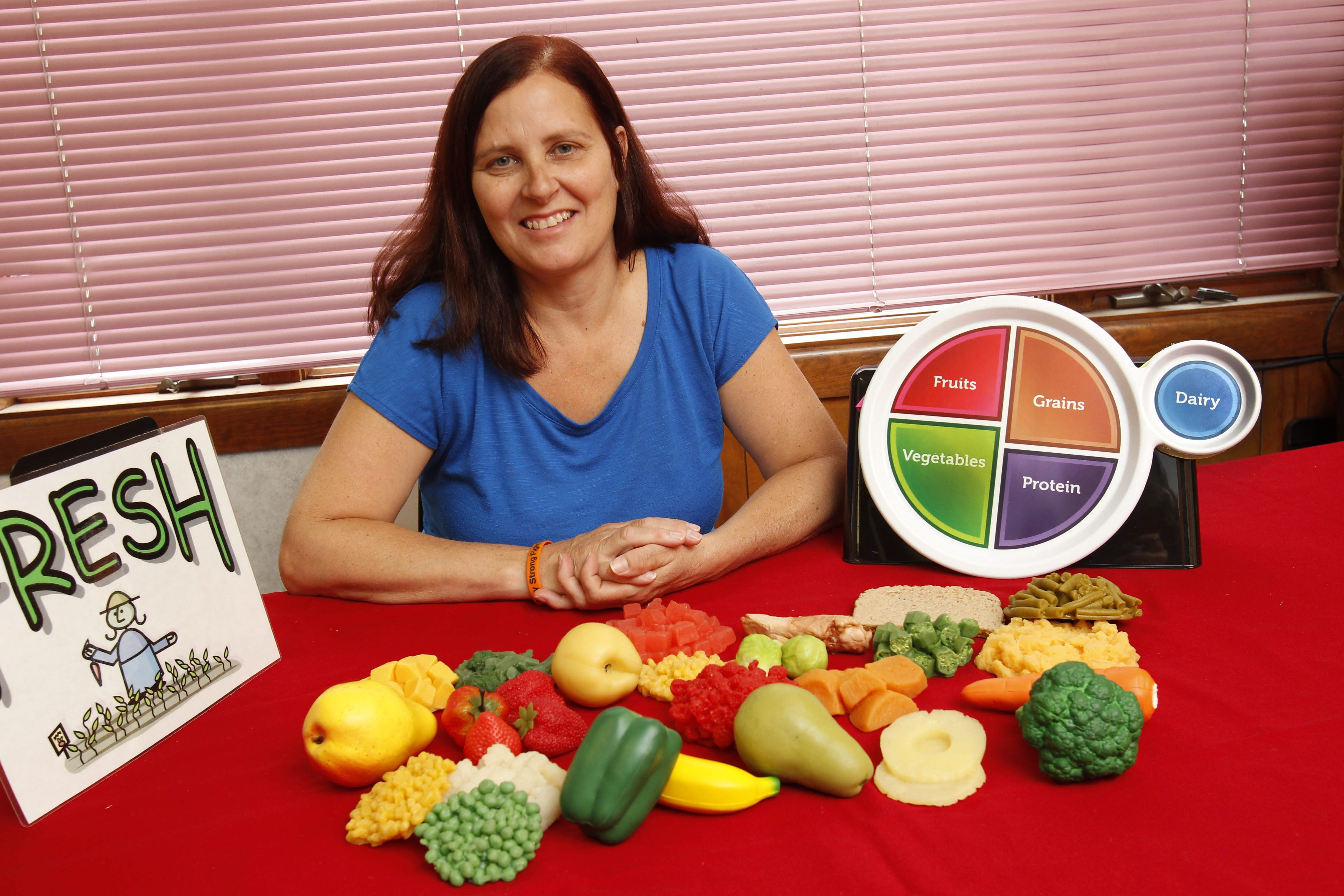 Nutrition educator Sandra Barlow of Cornell Cooperative Extension of Erie County likes lots of fruit and vegetables, lean meat, fish, beans and salads.