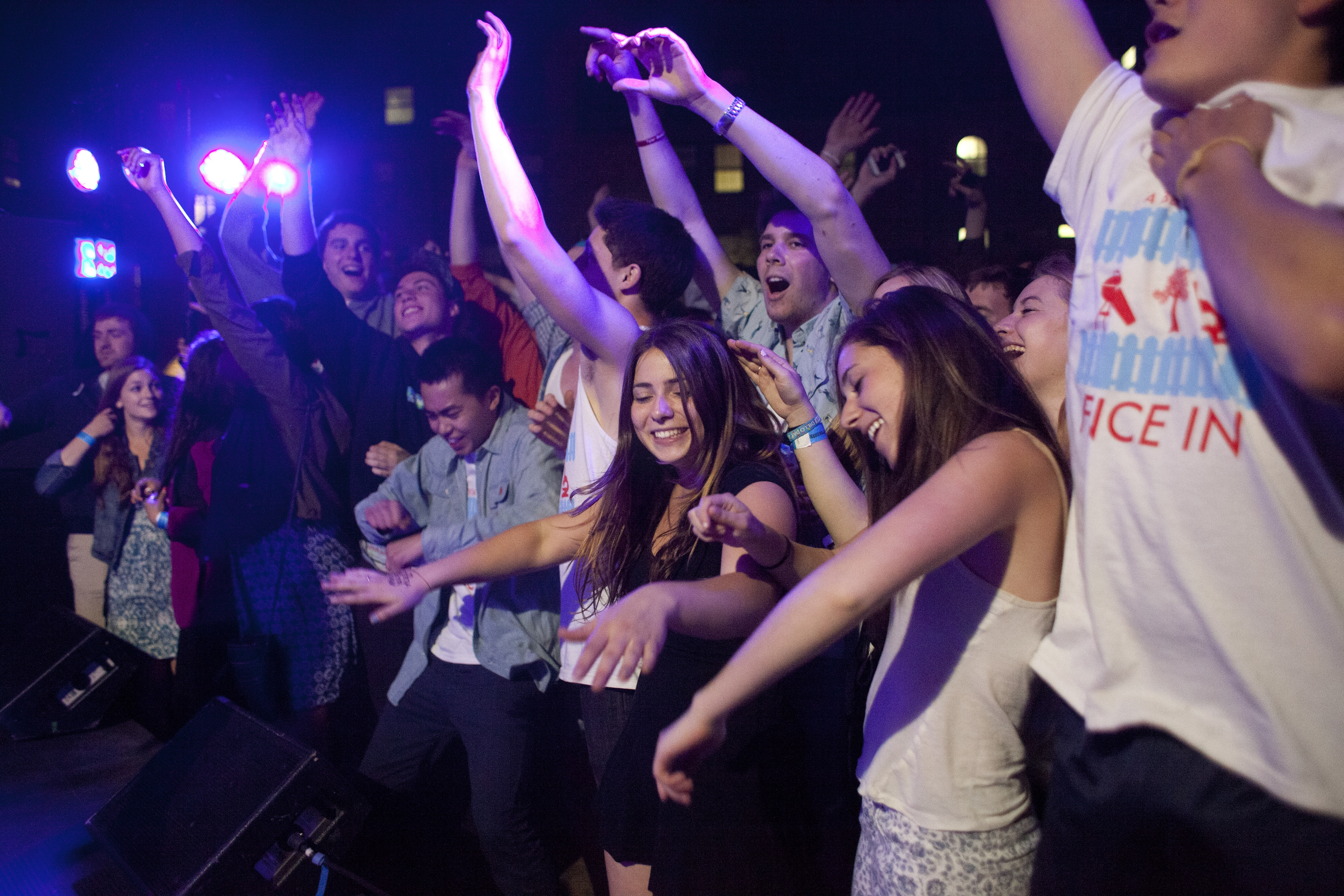 A crowd dances at a fundraiser hosted by a fraternity at Northwestern University in Evanston, Ill. Northwestern put two fraternities on probation last year.