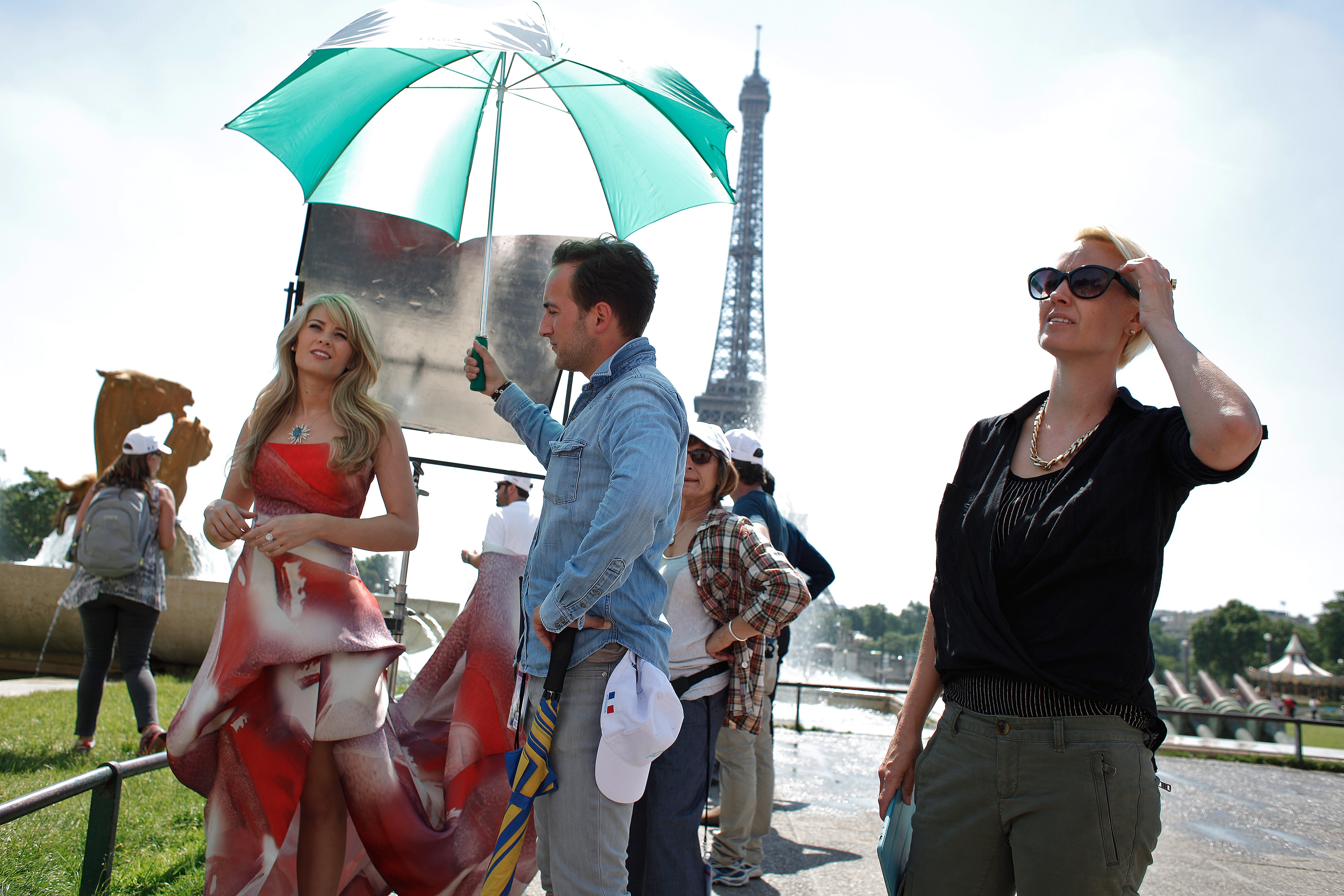 """Actress Kimberly Matula prepares to film a scene from """"The Bold and the Beautiful"""" in Paris on Friday."""