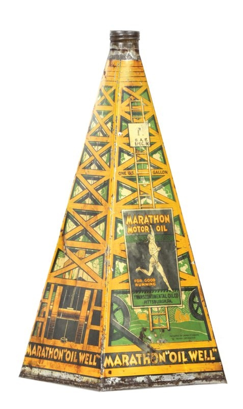 This pyramid-shaped tin/lithographed can is hand-soldered. It probably was made before 1940. It sold for $4,830 at a William Morford auction in Cazenovia in March.