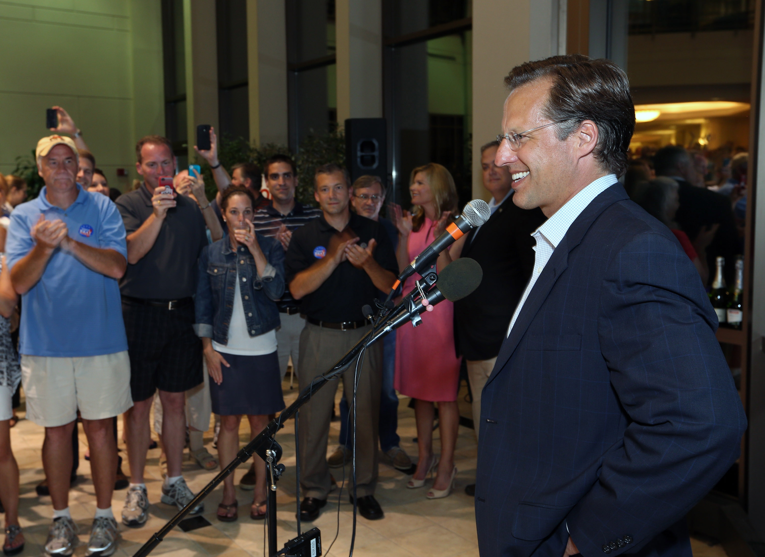 Dave Brat speaks to supporters after defeating Republican Rep. Eric Cantor in Tuesday's Republican primary in Virginia. (Associated Press)