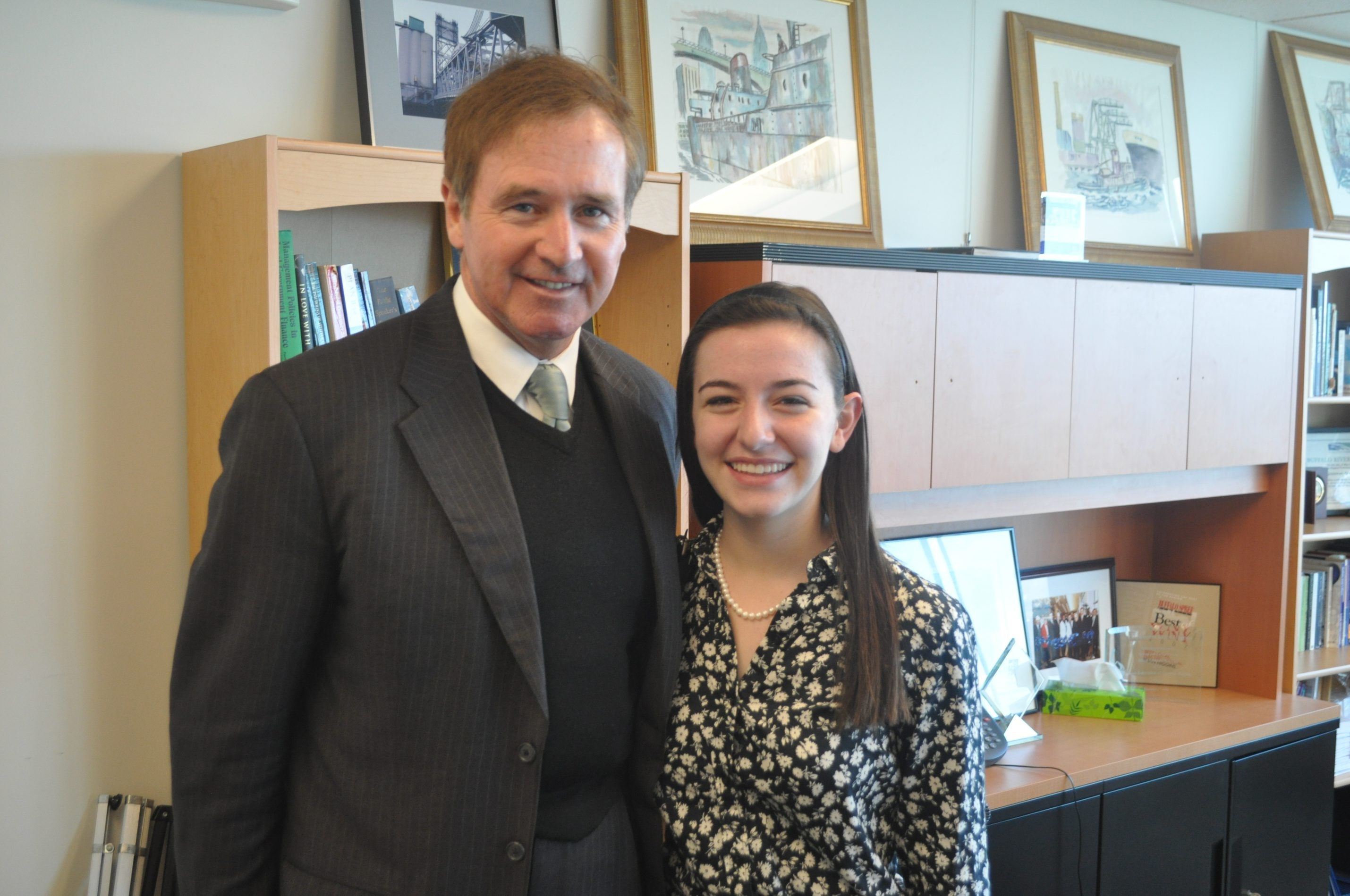 Rebecca Brandel, a sophomore at Mount St. Mary Academy, talked to Rep. Brian Higgins, D-Buffalo.