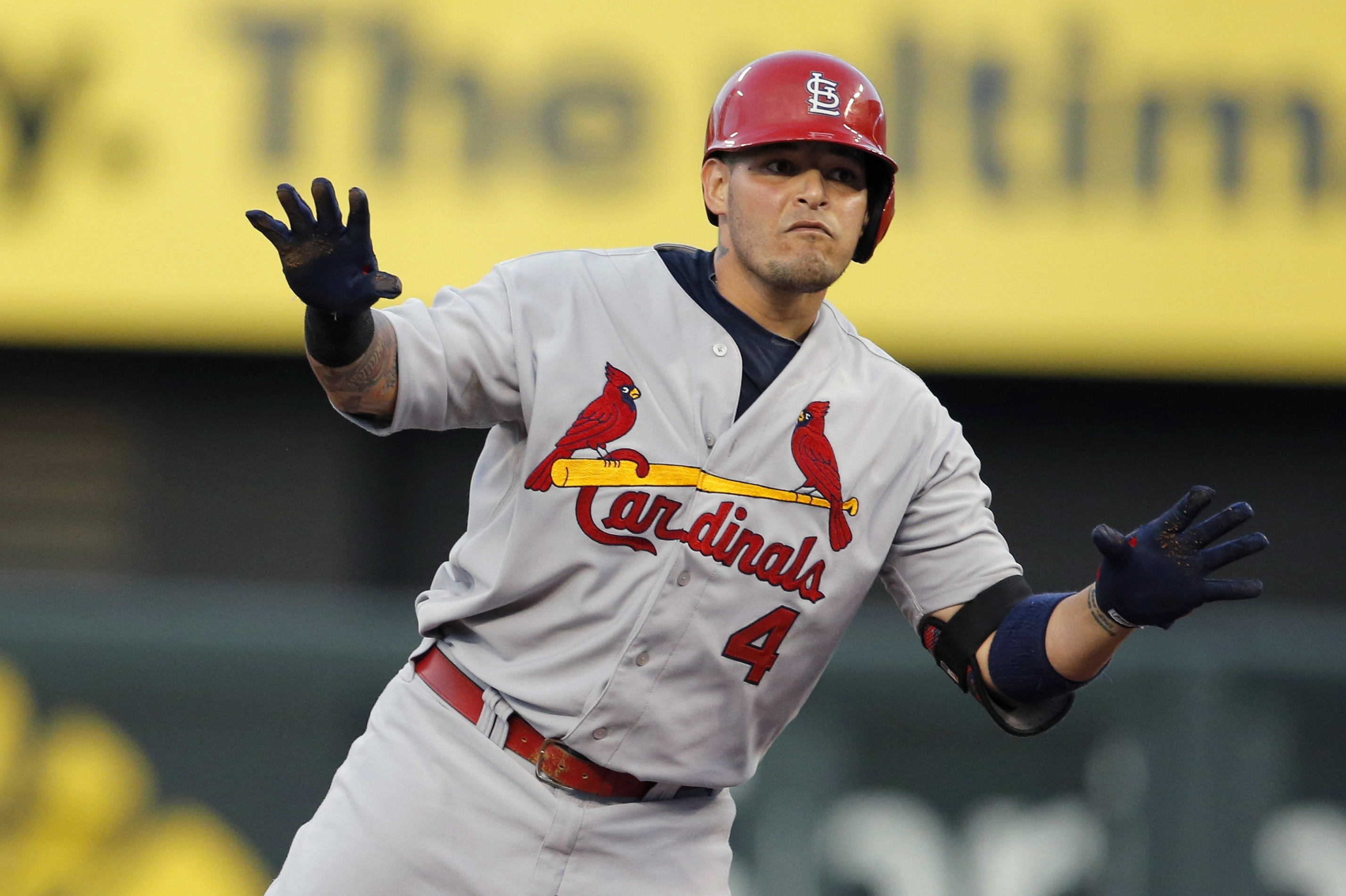 Cardinals all-star catcher Yadier Molina, in a 2-for-21 slump and batting .128 over the last 11 games, was given the day off Saturday by manager Mike Matheny because he's fried from trying so hard.