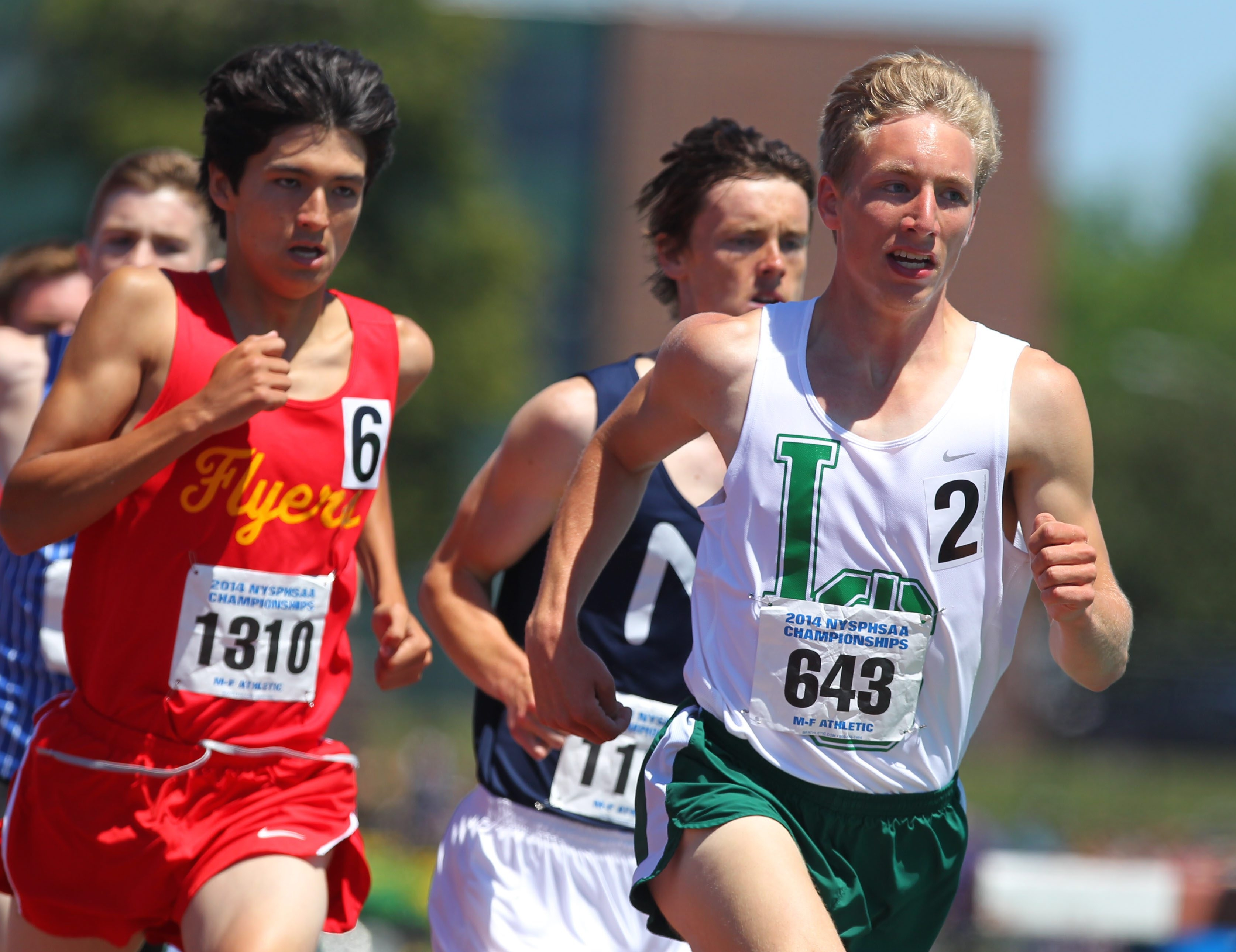 Lake Shore's T.J. Hornberger keeps the pace in the 1,600 meters at the State Track Championships. He finished third but broke his Section VI record of 4:12.77 by running it in 4:10.21.