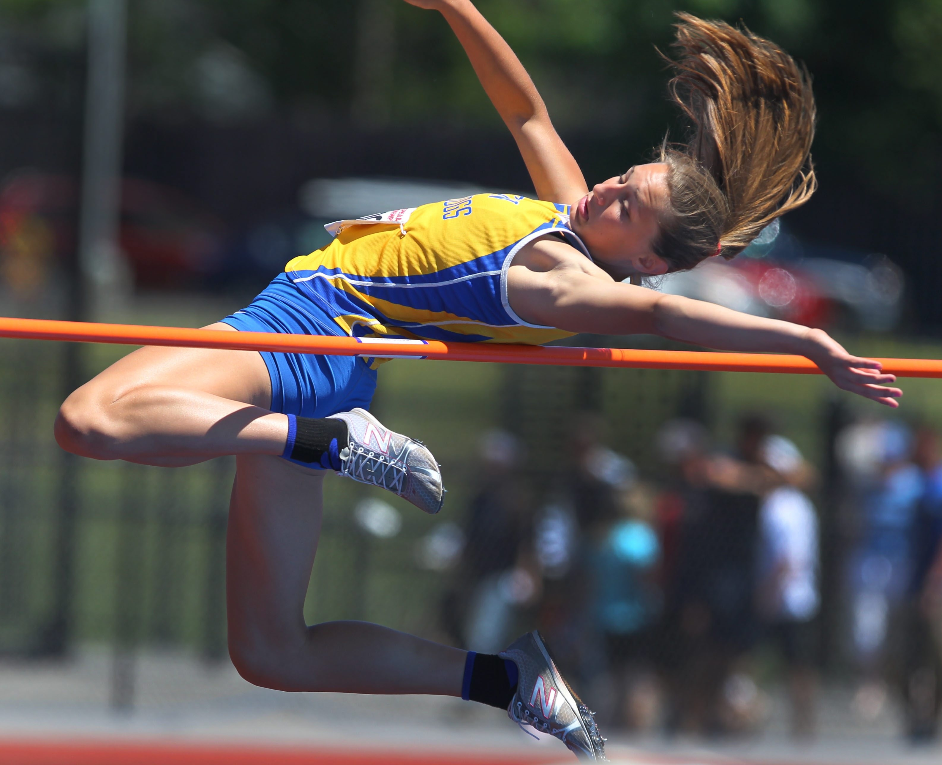 Alden's Hailey Rospierskin leaps to victory in the Division II high jump at the state track and field championship meet in Cicero-North Syracuse.  (Mark Mulville/Buffalo News)