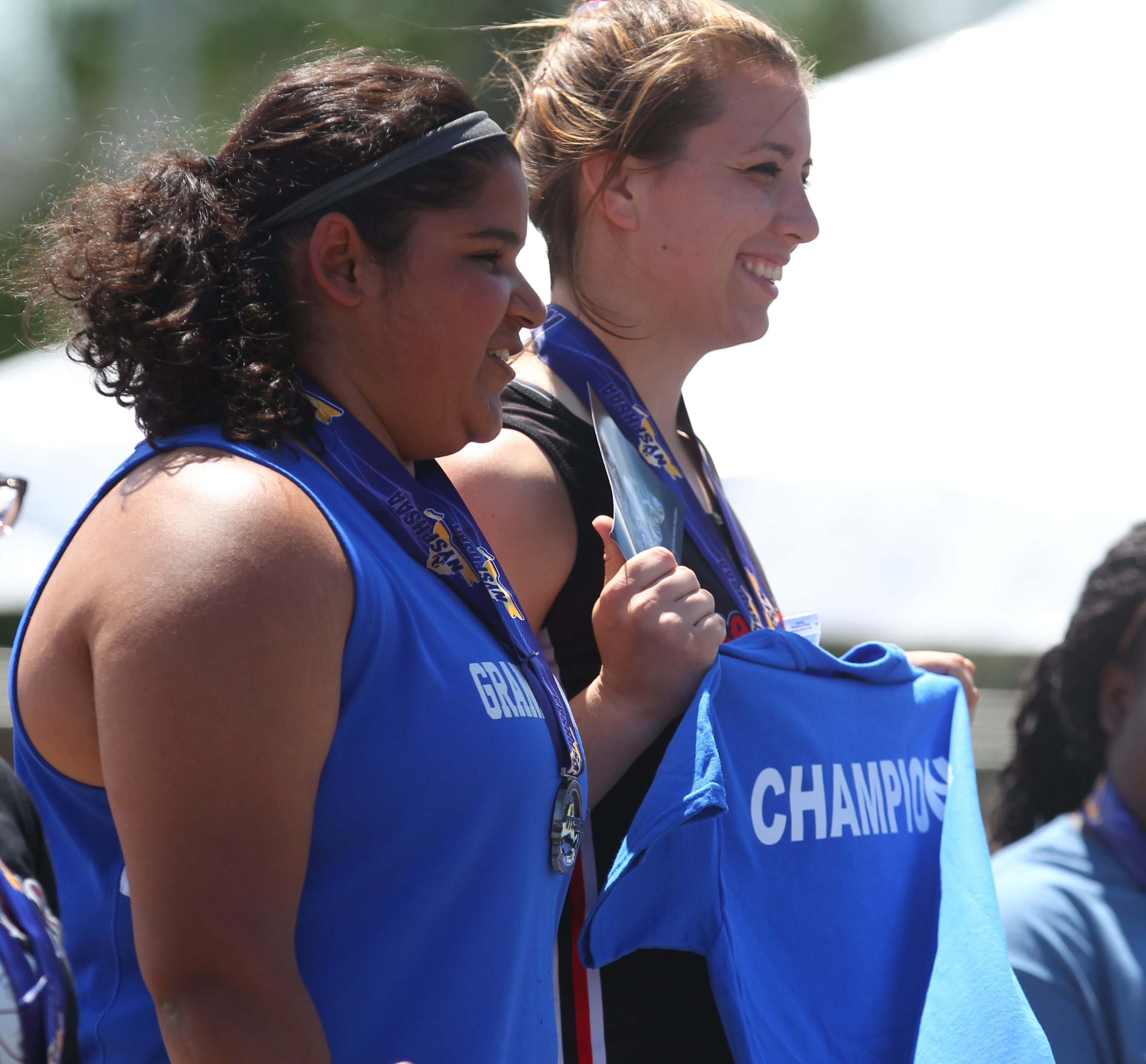 Lancaster's McKenzie Kuehlewind, right, and Grand Island's Jess Dhaliwall took first and second in the Division I shot put.