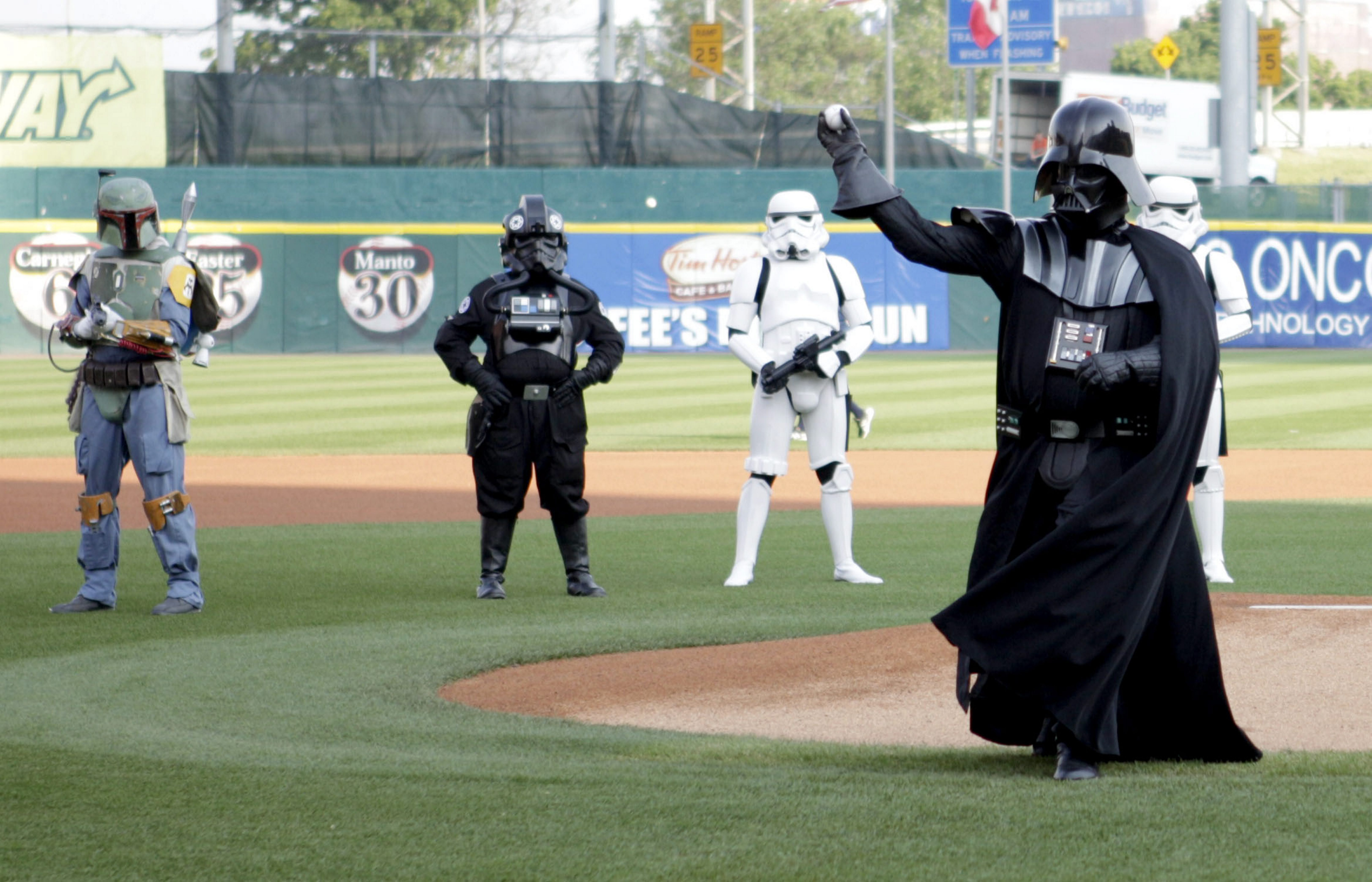 Darth Vader tosses out the first pitch at the 2013 Star Wars Night, which took place during a game against the Durham Bulls on June 22.