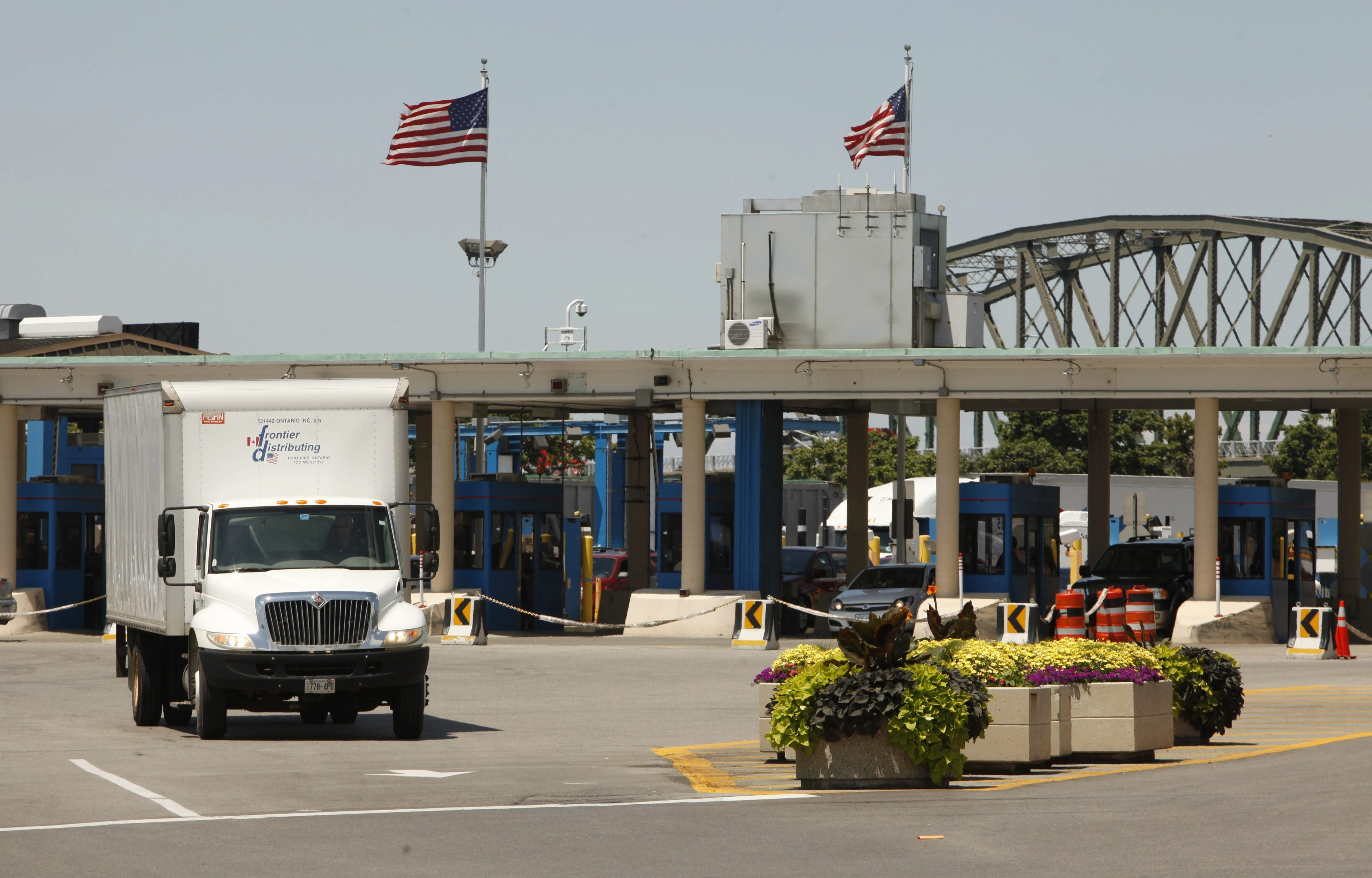 Trucks come and go at the Peace Bridge Plaza in Buffalo. The Federal Highway Administration has approved improvements to the plaza that include direct access from the Niagara Thruway to the bridge.