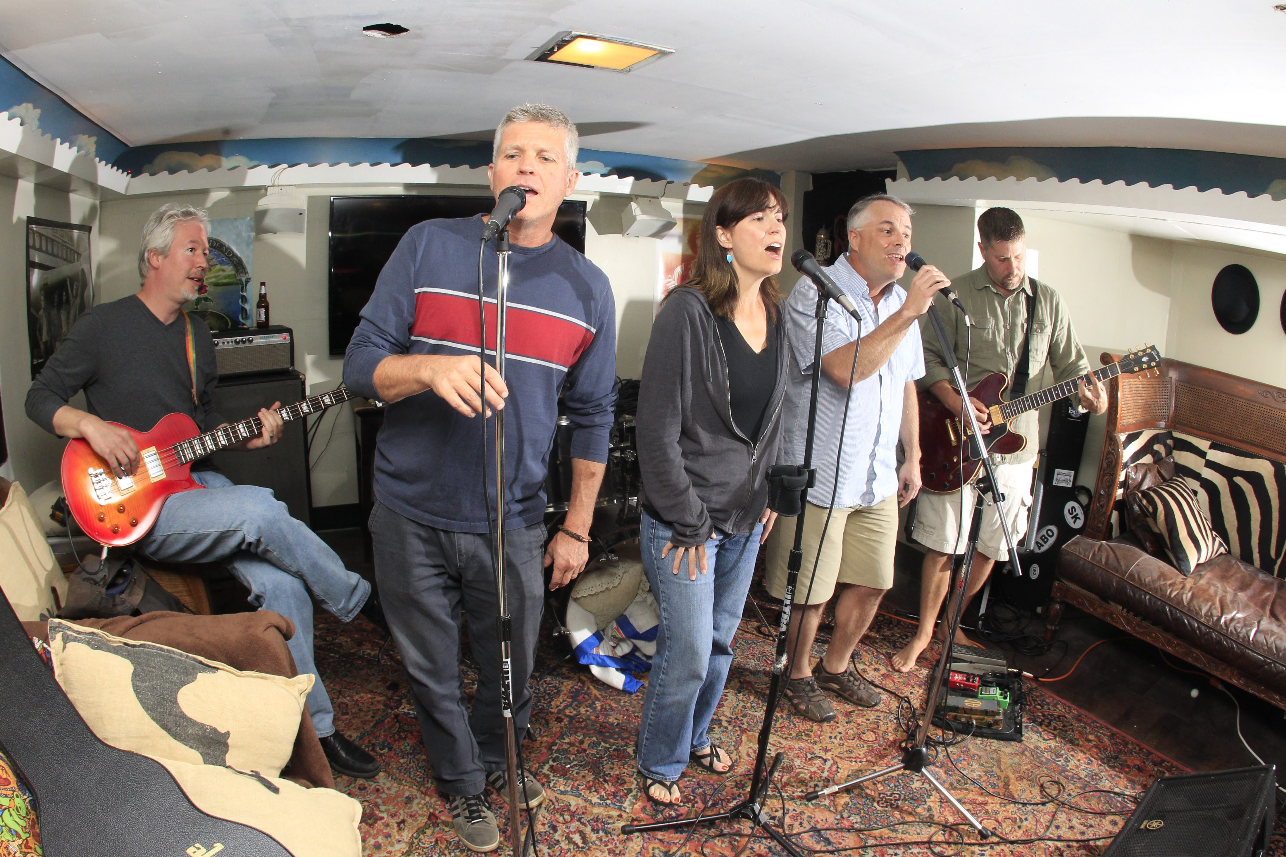 From left, Rob Ramsey, Joe Shanahan, Patty Sauer, Mike O'Connor and Bob Sauer rehearse for Saturday's East Aurora Music Fest.