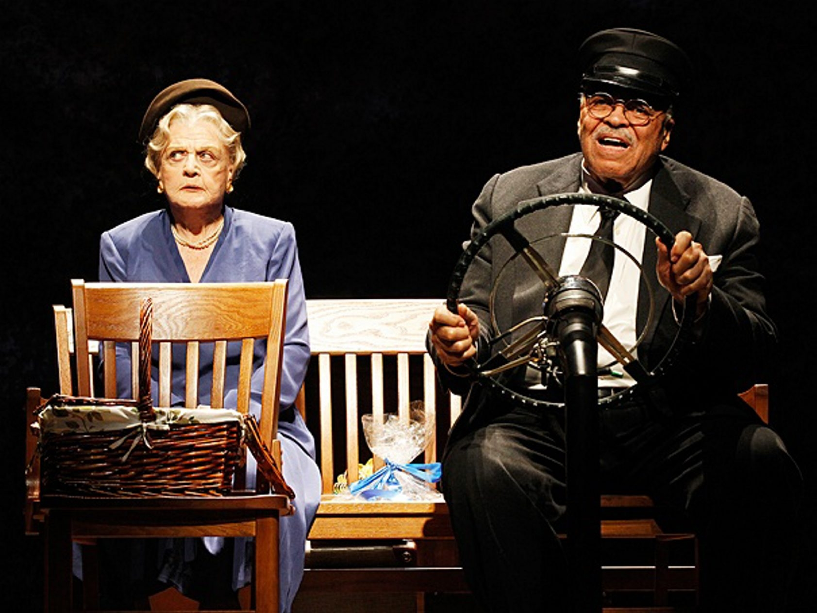 "Angela Lansbury and James Earl Jones star in ""Driving Miss Daisy."""
