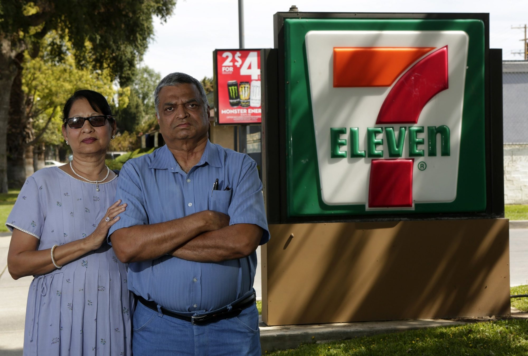 """Saroj Patel, left, and her husband, Dilip, allege 7-Eleven used """"storm trooper interrogation and isolation tactics"""" to strip them of the Riverside, Calif., store that they had run since 1995."""