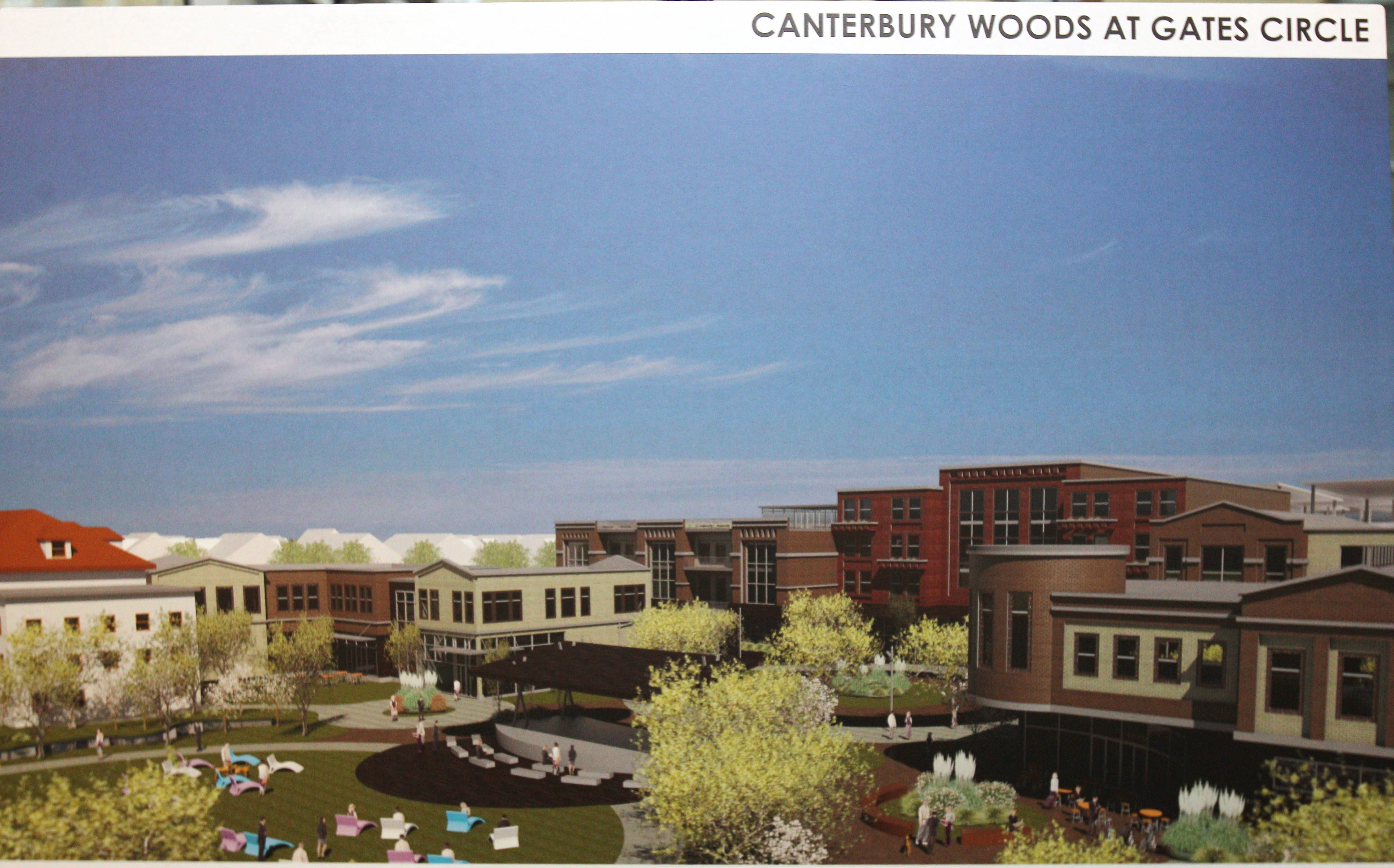 An artist's rendering of the mixed-use development planned for the Gates Circle property.