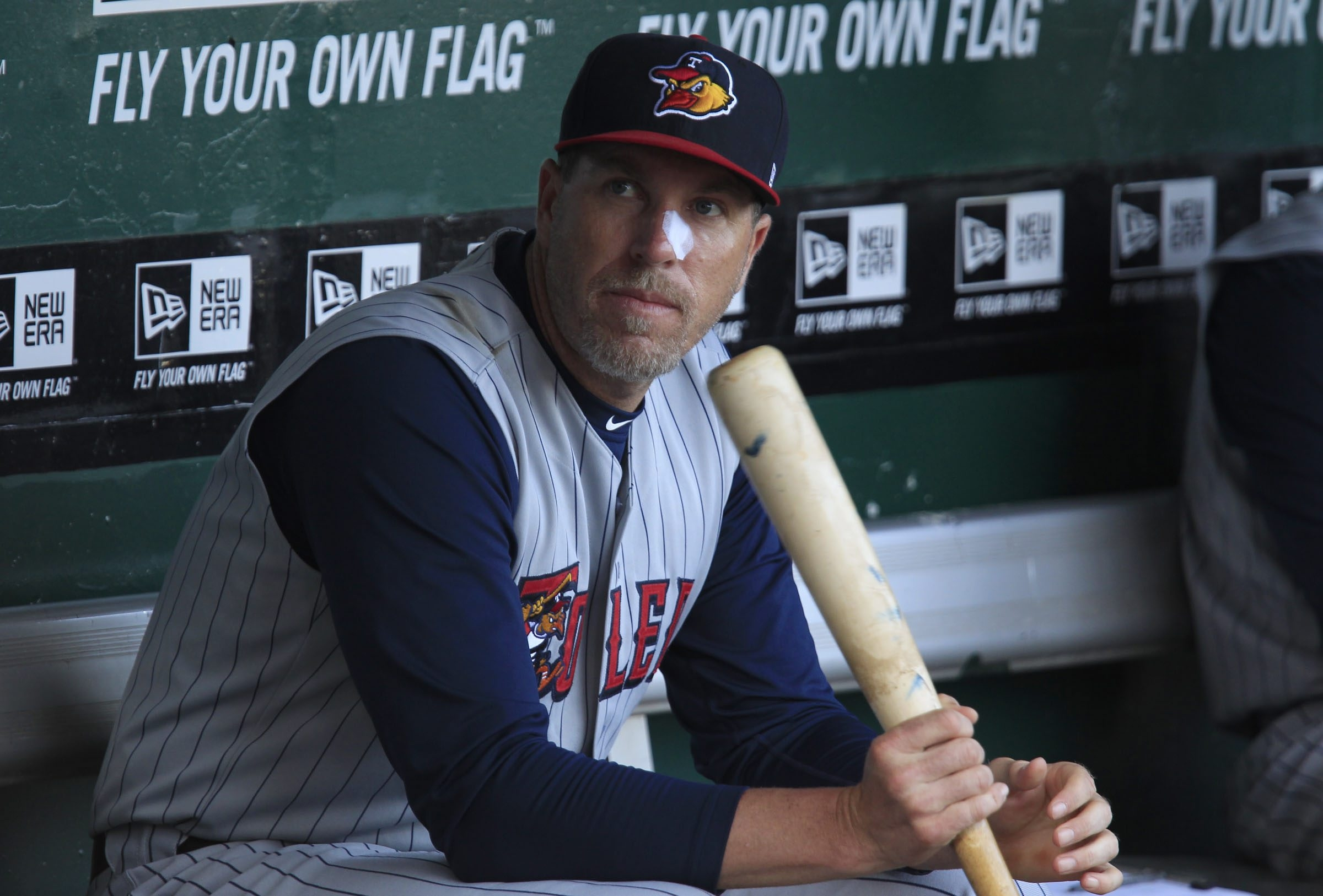 Mike Hessman of the Toledo Mud Hens has sat out a couple of games this week after having facial surgery.