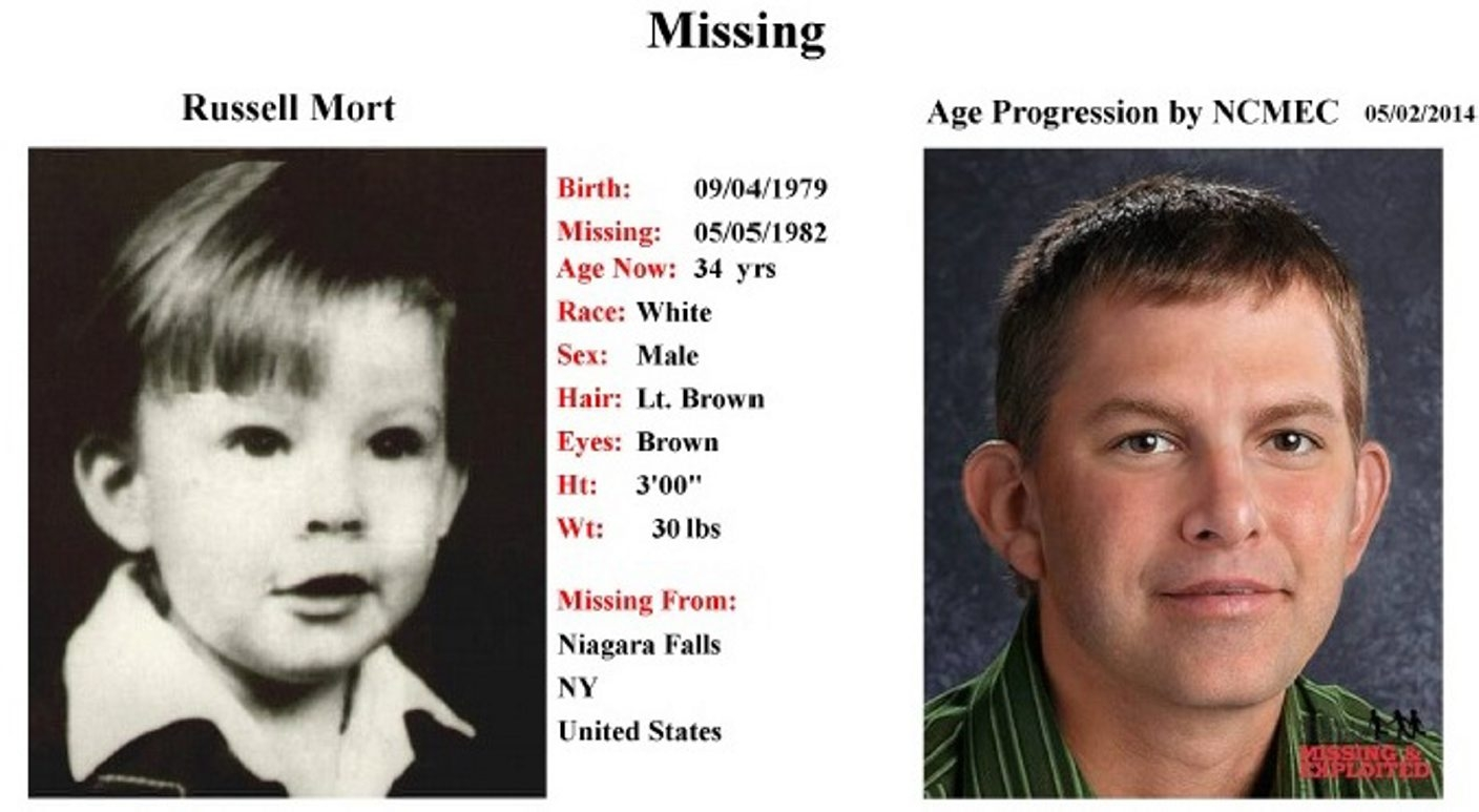 Age progression photo shows Russell Mort, age 2, and how he might look today at age 34.