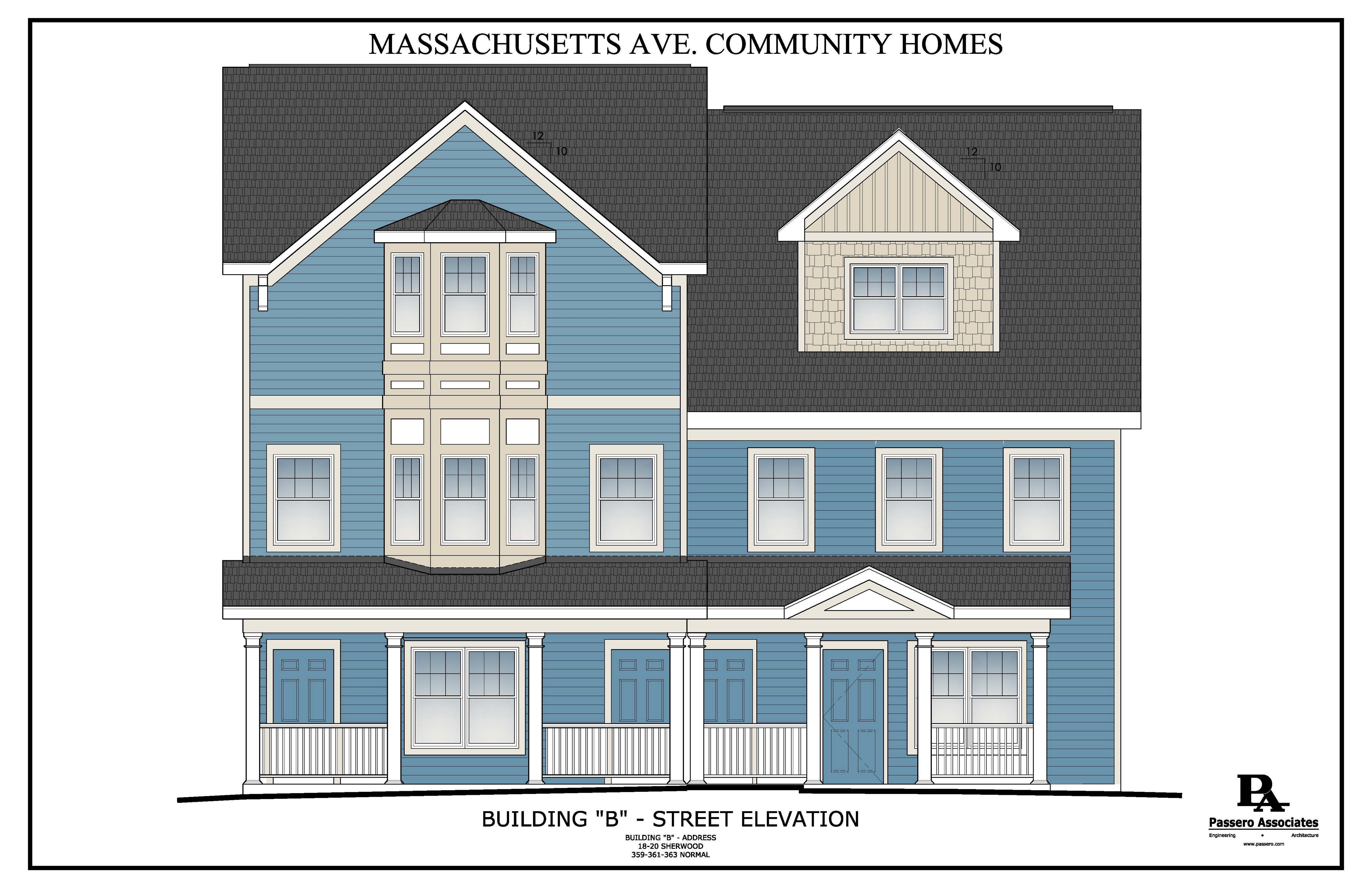 Rendering from PUSH Buffalo shows Massachusetts Avenue Community Homes, part of its plan to construct 46 affordable, energy-efficient West Side apartments. Included are nine new structures and seven renovations, mostly long-vacant sites.