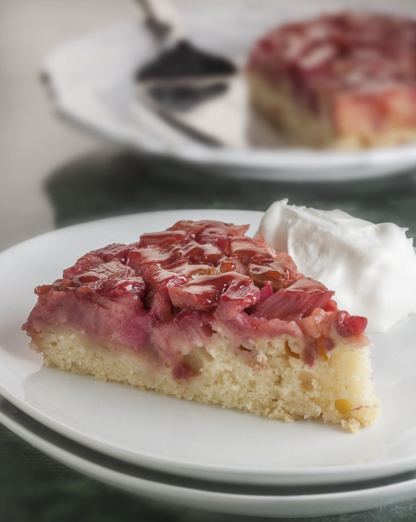 Upside-down cake is a delicious way to enjoy rhubarb from the home garden.
