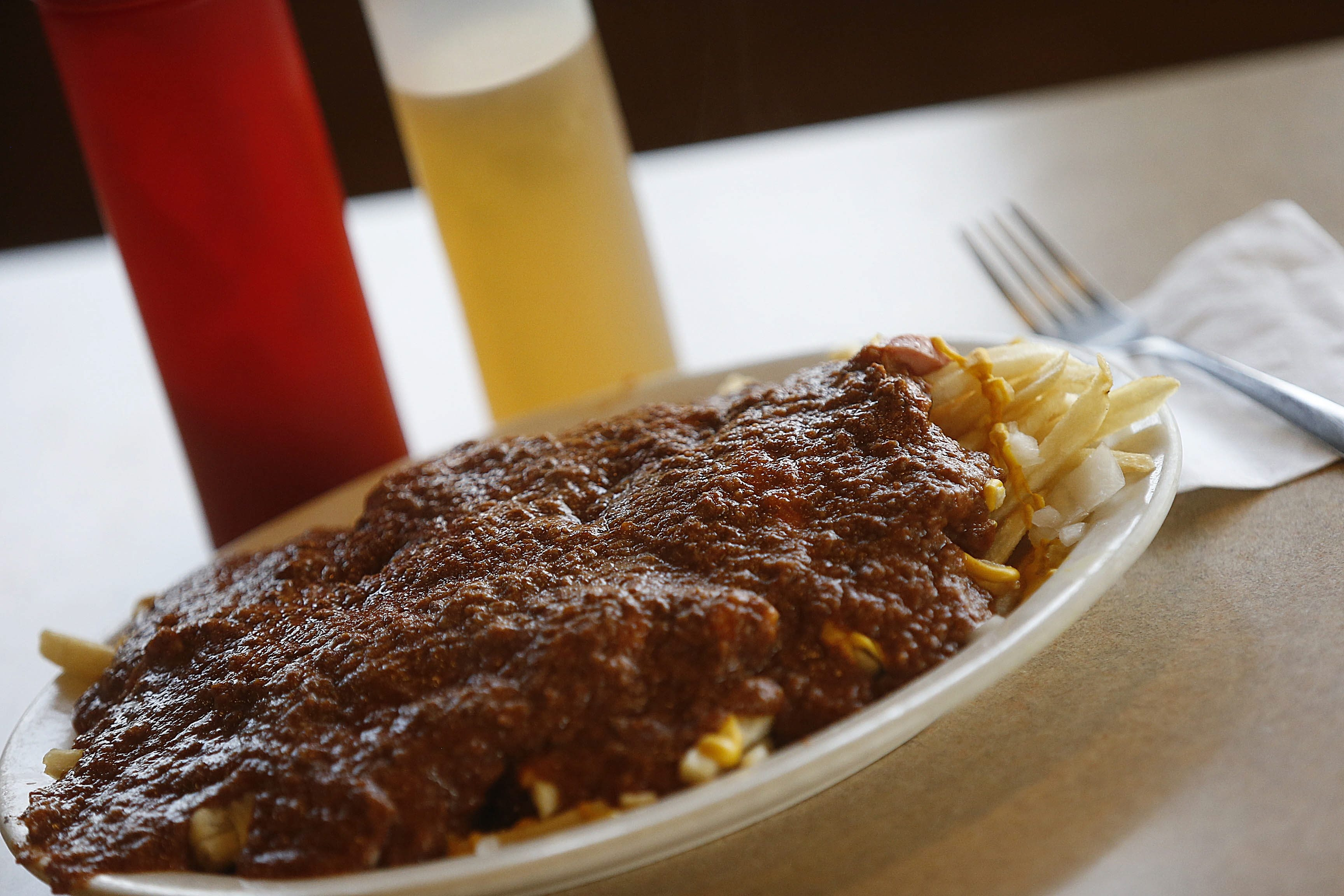 "The Texas Prairie Platter is a version of the ""garbage plate"" created at Zorba's Texas Hots in Depew. (Robert Kirkham/Buffalo News)"