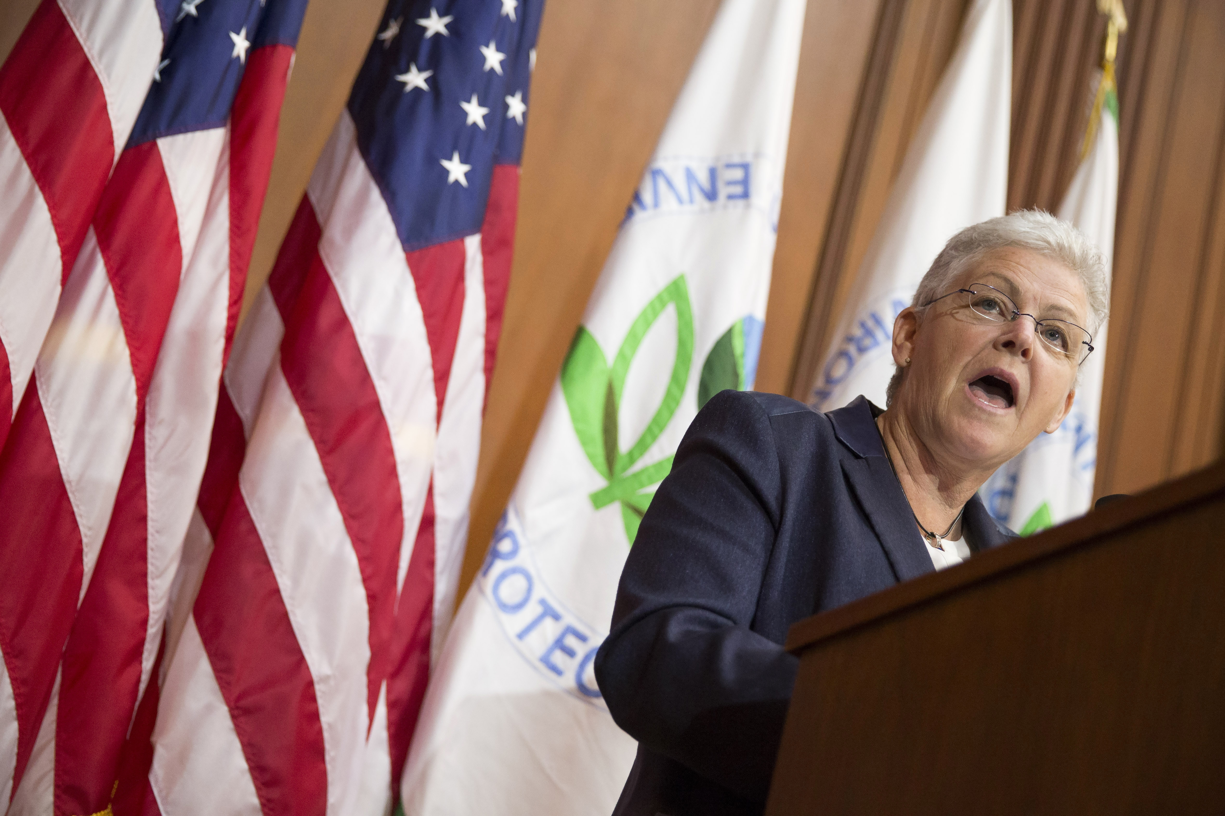 """Environmental Protection Agency Administrator Gina McCarthy speaks during an announcement of a plan to cut carbon dioxide emissions today at EPA headquarters in Washington, D.C. """"Climate change, fueled by carbon pollution, supercharges risks to our health, our economy and our way of life,"""" McCarthy said during the announcement."""
