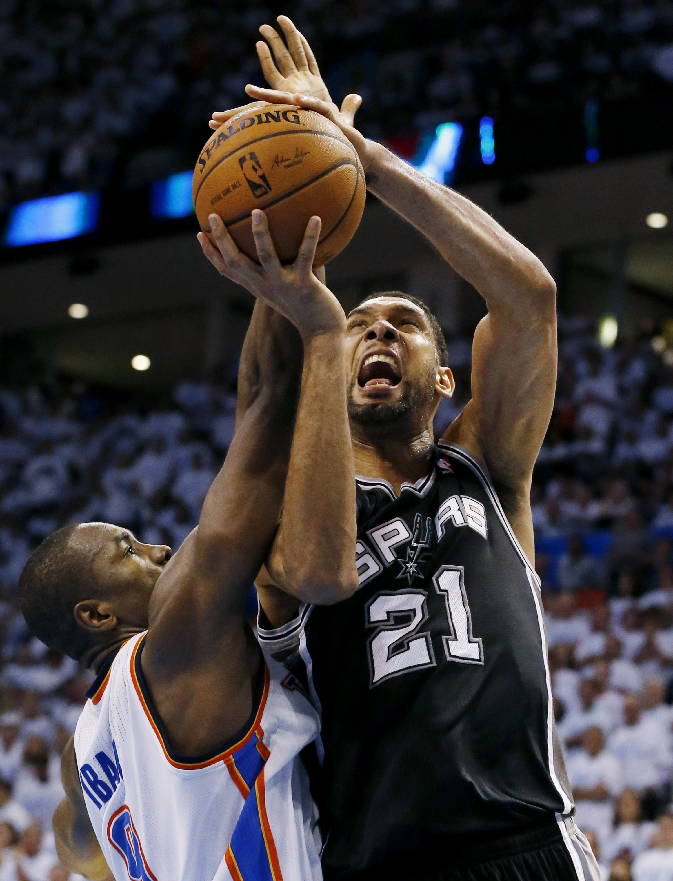 San Antonio forward Tim Duncan carried the Spurs on his back in Saturday night's overtime win against Oklahoma City.