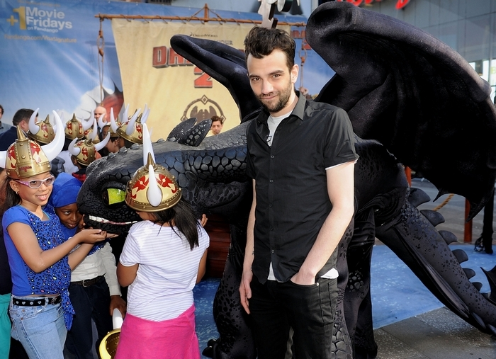 "Jay Baruchel, the voice of Hiccup, attends a photo call for ""How To Train Your Dragon 2"" in Times Square last week. (Getty Images)"