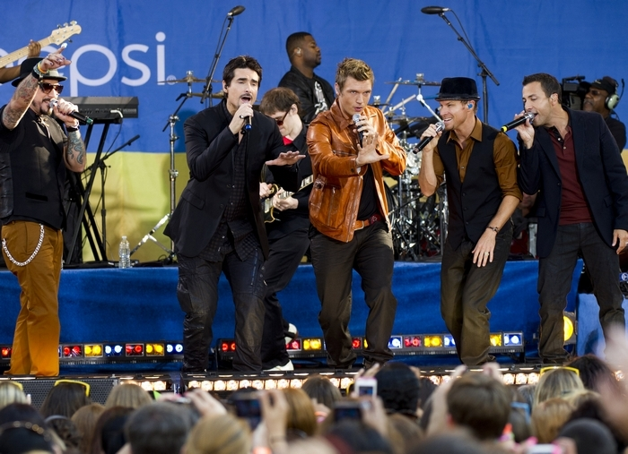 The Backstreet Boys, from left, A.J. McLean, Kevin Richardson, Nick Carter, Brian Littrell and Howie Dorough. (Associated Press)