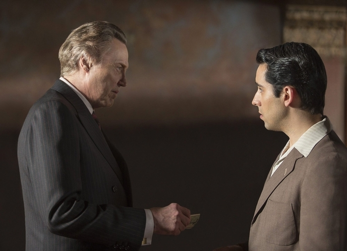 """Christopher Walken as mob boss Gyp DeCarlo, left, and John Lloyd Young as Frankie Valli of the Four Seasons in a scene from the film """"Jersey Boys"""" (McClatchy Newspapers)"""