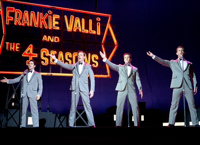 """From left, John Lloyd Young stars as Frankie Valli; Erich Bergen as Bob Gaudio; Vincent Piazza as Tommy DeVito; and Michael Lomenda as Nick Massi in """"Jersey Boys."""""""