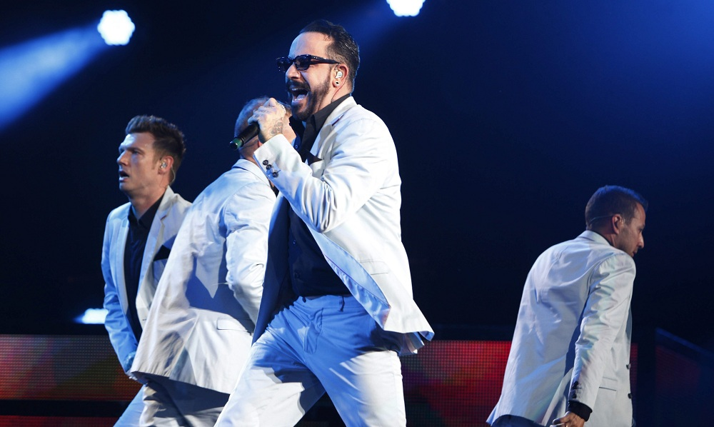 The Backstreet Boys performed at Darien Lake Performing Arts Center, Wednesday, June 18, 2014. A.J. McLean sings. (Sharon Cantillon/Buffalo News)