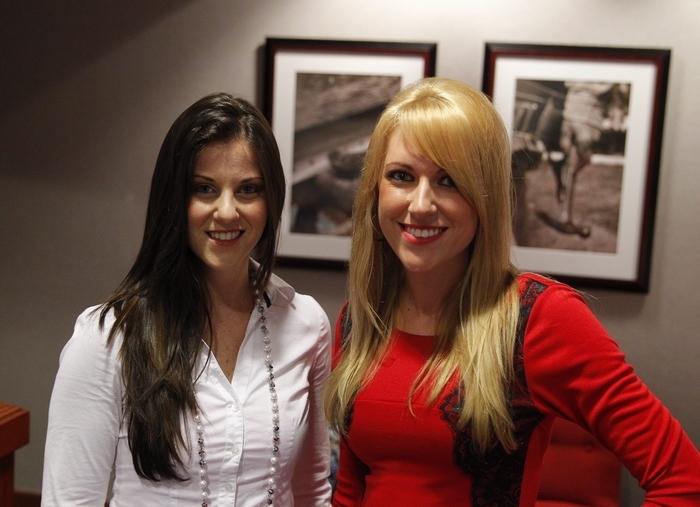 """Maria on left, and Alyssa, two of five former Buffalo Jills who sued the Bills for not paying them the minimum wage for their appearances at Bills games and events and for the degrading treatment they received at some events, were interviewed by HBO's Andrea Kremer. The interviews will air at 10 p.m. Tuesday during HBO's """"Real Sports"""" magazine show.. (John Hickey / Buffalo News)"""
