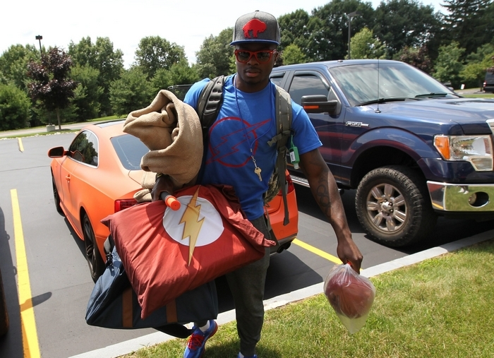 Bills wide receiver Marquise Goodwin arrives at training camp at St. John Fisher College. (James P. McCoy/Buffalo News)