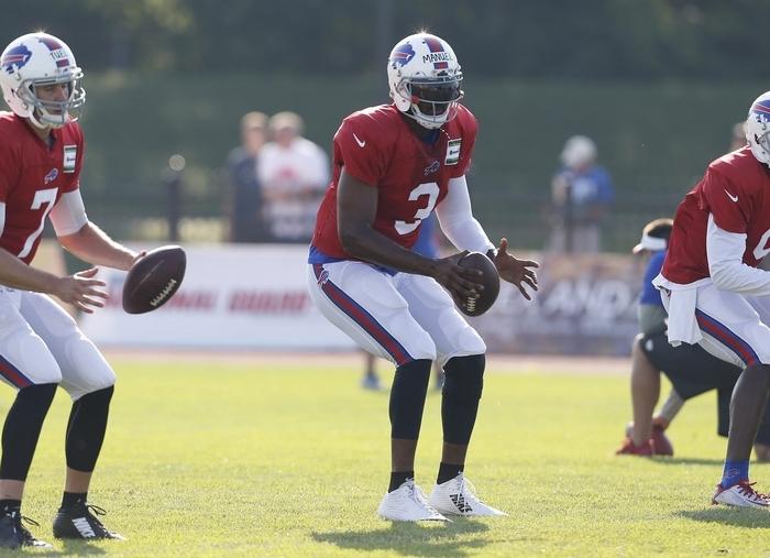 Buffalo Bills quarterbacks participate in training camp at St. John Fisher College on Monday, July 21, 2014. (Harry Scull Jr. /Buffalo News)