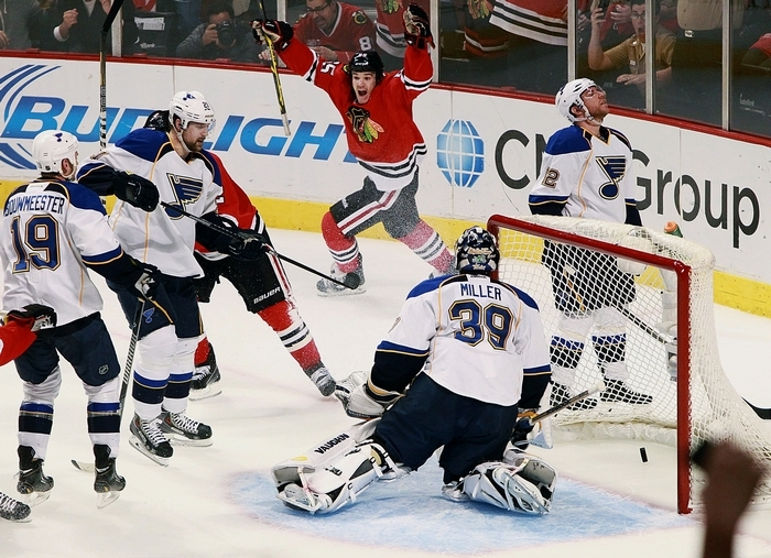 Blackhawks' Andrew Shaw hopes he and his teammates can celebrate a win tonight against the Wild after dropping two in Minnesota. (Associated Press)