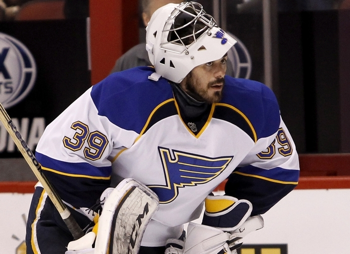 Ryan Miller keeps heading west, heading for Vancouver after playing for Buffalo Sabres, then St. Louis Blues. (AP Photo/Ralph Freso)