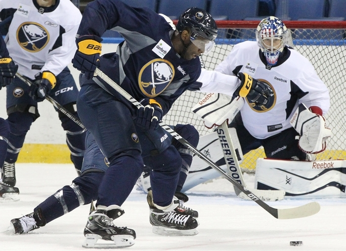 New Sabre Jordan Samuels-Thomas heads for the net during the first day of Sabres development camp. Samuels-Thomas could fit provide depth for the Sabres or get more playing time with Rochester.