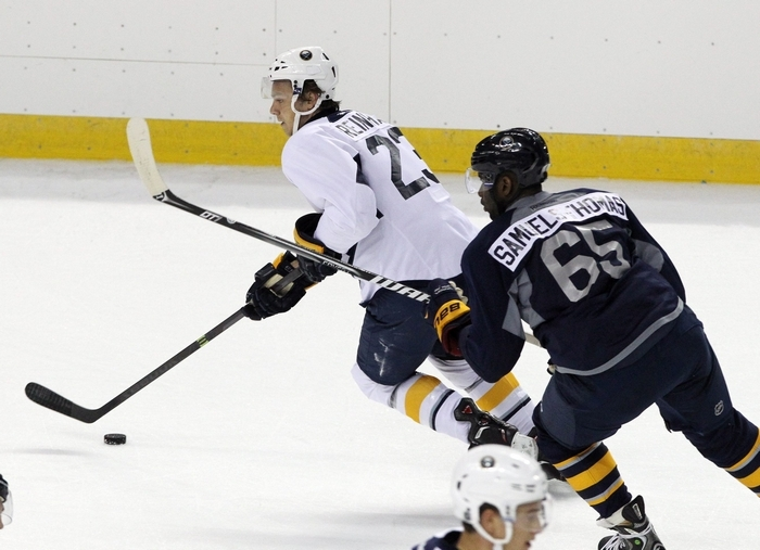 Sam Reinhart might start the season as center for Cody Hodgson and Brian Gionta. (James P. McCoy/Buffalo News)