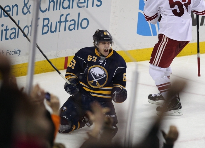 The Sabres' Tyler Ennis celebrates his game tieing goal in the third period at the First Niagara Center in Buffalo Monday, December 23, 2013.  (Mark Mulville/Buffalo News)