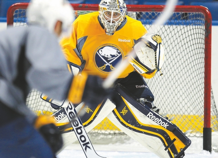 Jhonas Enroth (pictured) and Michal Neuvirth figure to be the Sabres' goalies for next season, but only time will tell if they can be No. 1's in the NHL. (Mark Mulville/Buffalo News)