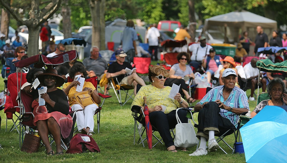 Audience members at Martin Luther King Jr. Park enjoy chill, grassroots blues. (Charles Lewis/Buffalo News)